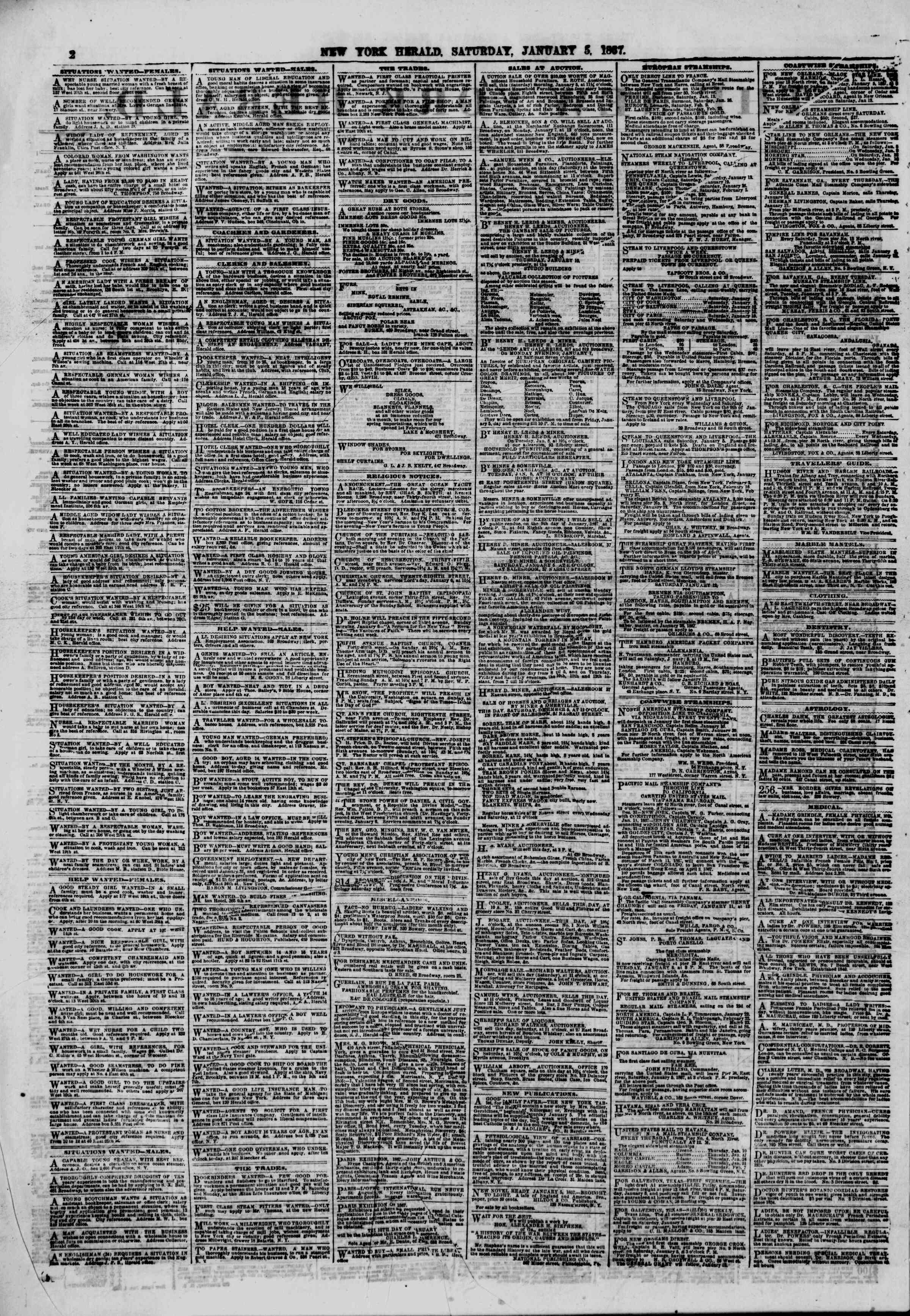 Newspaper of The New York Herald dated January 5, 1867 Page 2