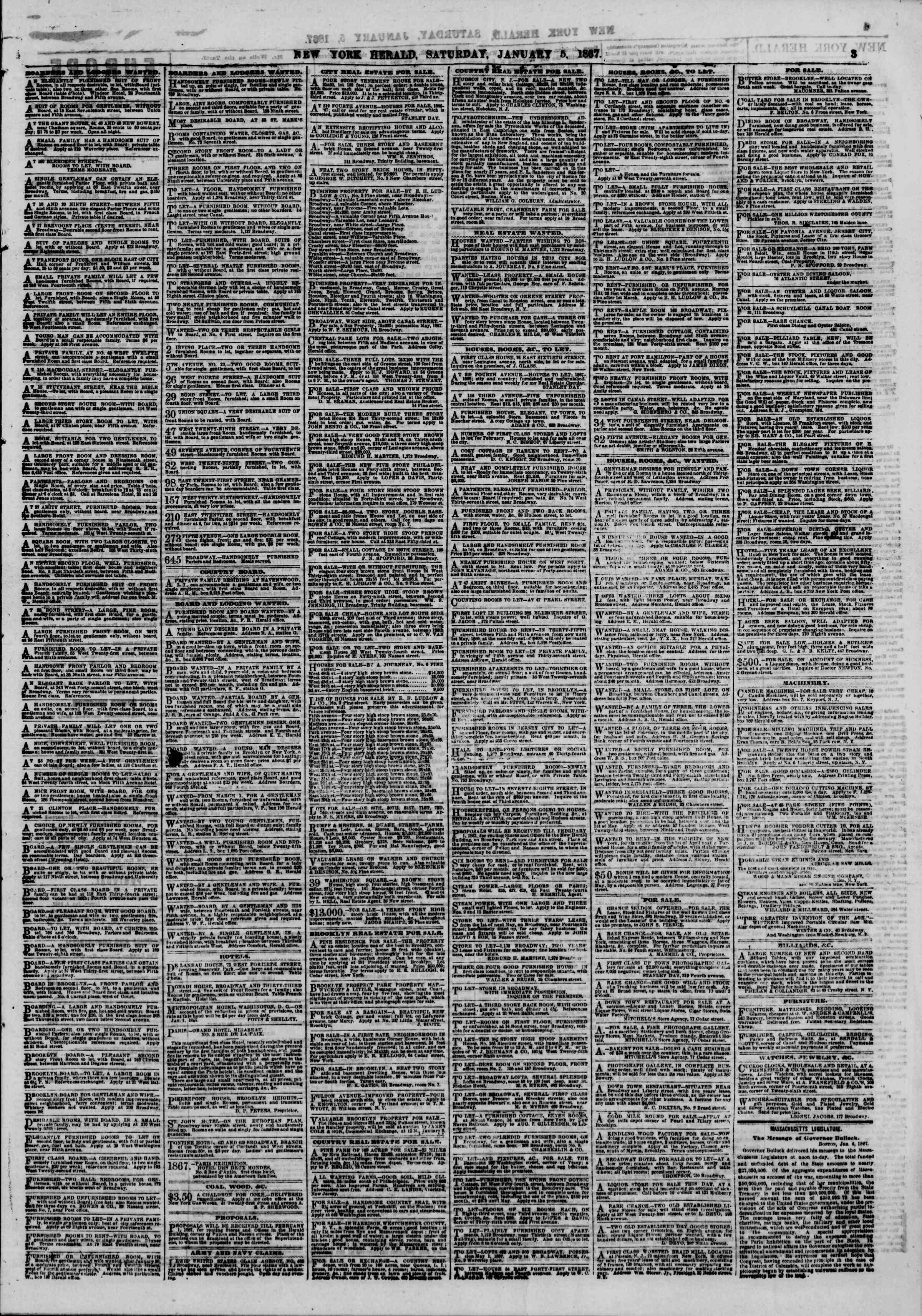 Newspaper of The New York Herald dated January 5, 1867 Page 3