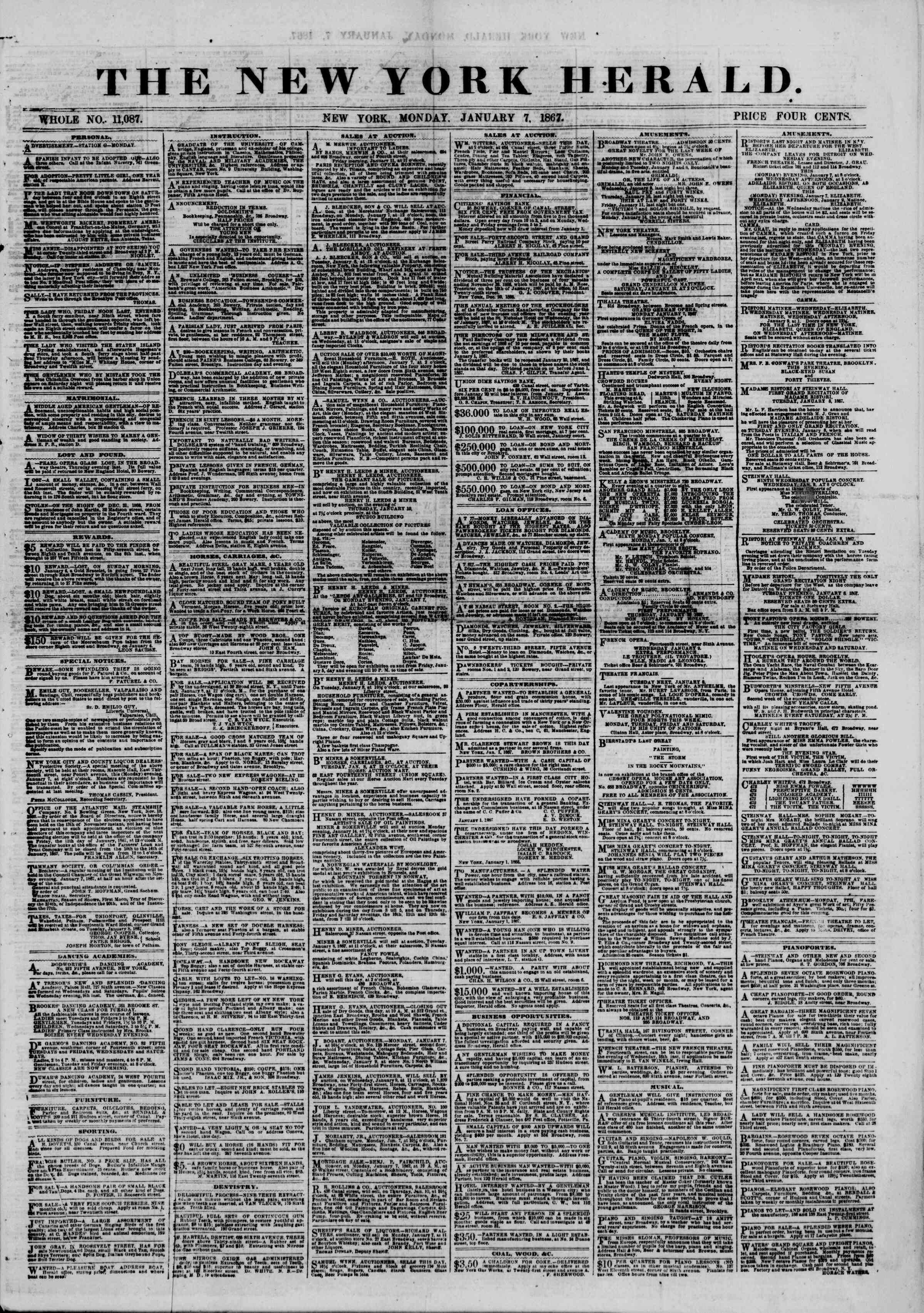 Newspaper of The New York Herald dated January 7, 1867 Page 1