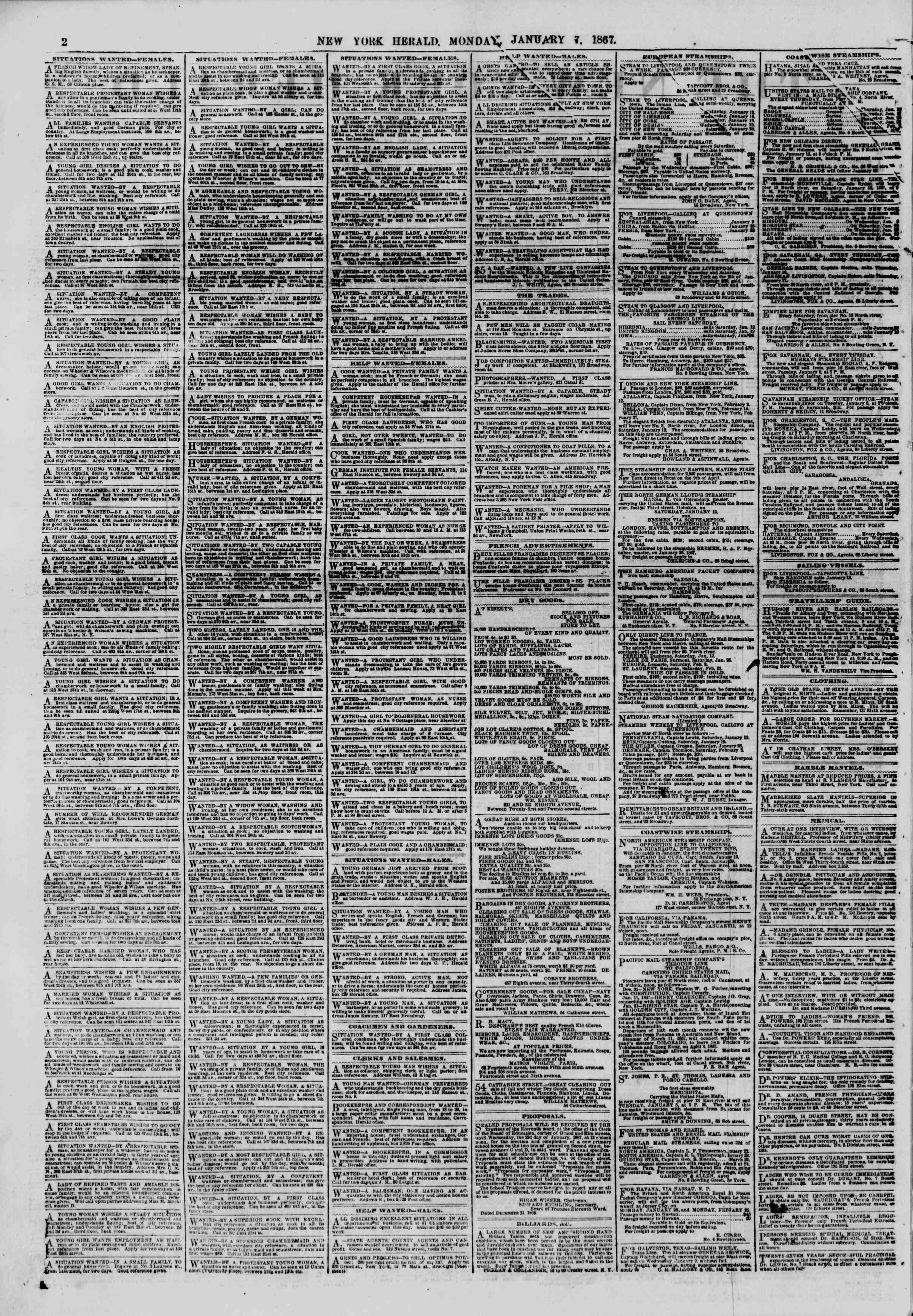 Newspaper of The New York Herald dated January 7, 1867 Page 2