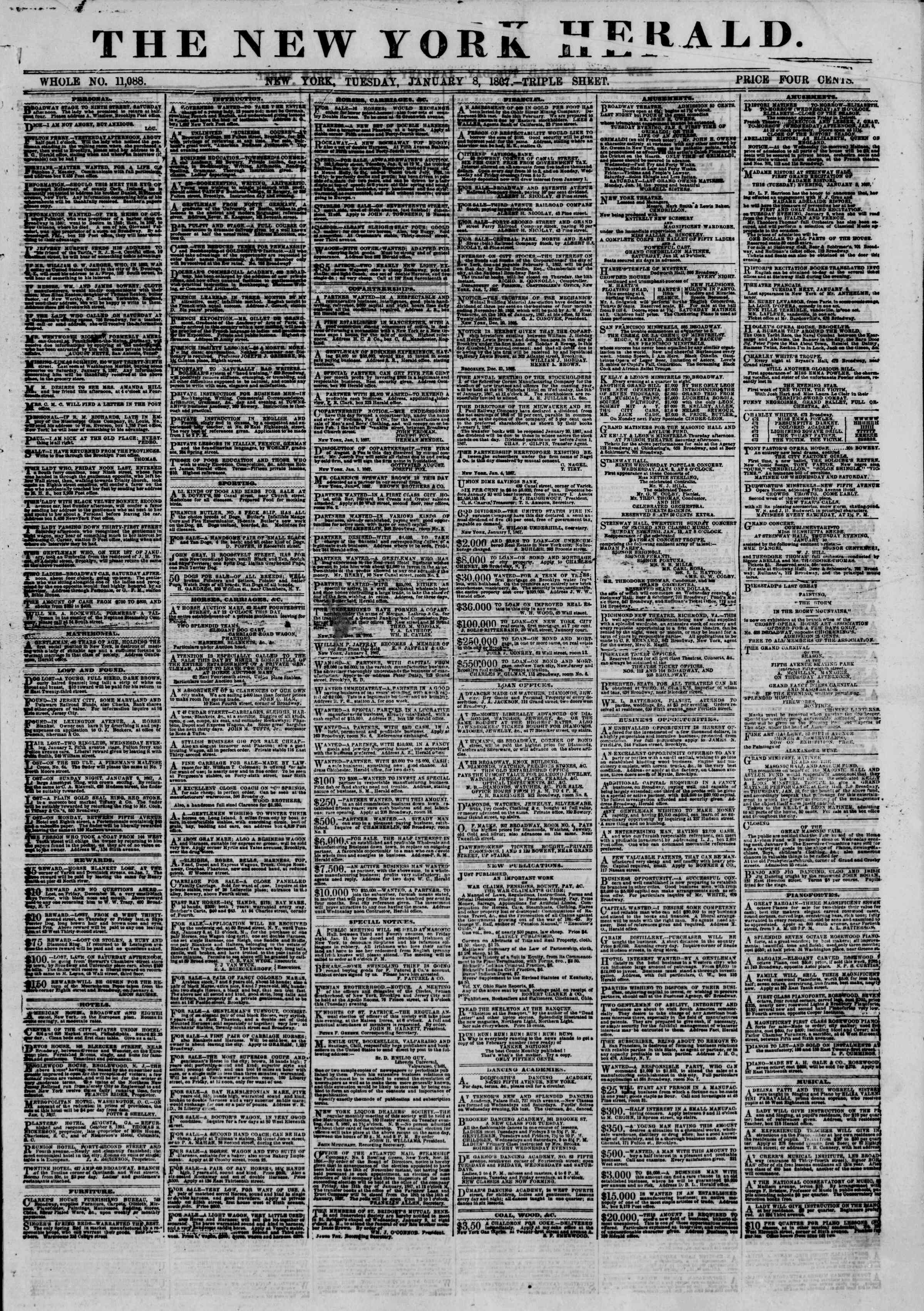 Newspaper of The New York Herald dated January 8, 1867 Page 1