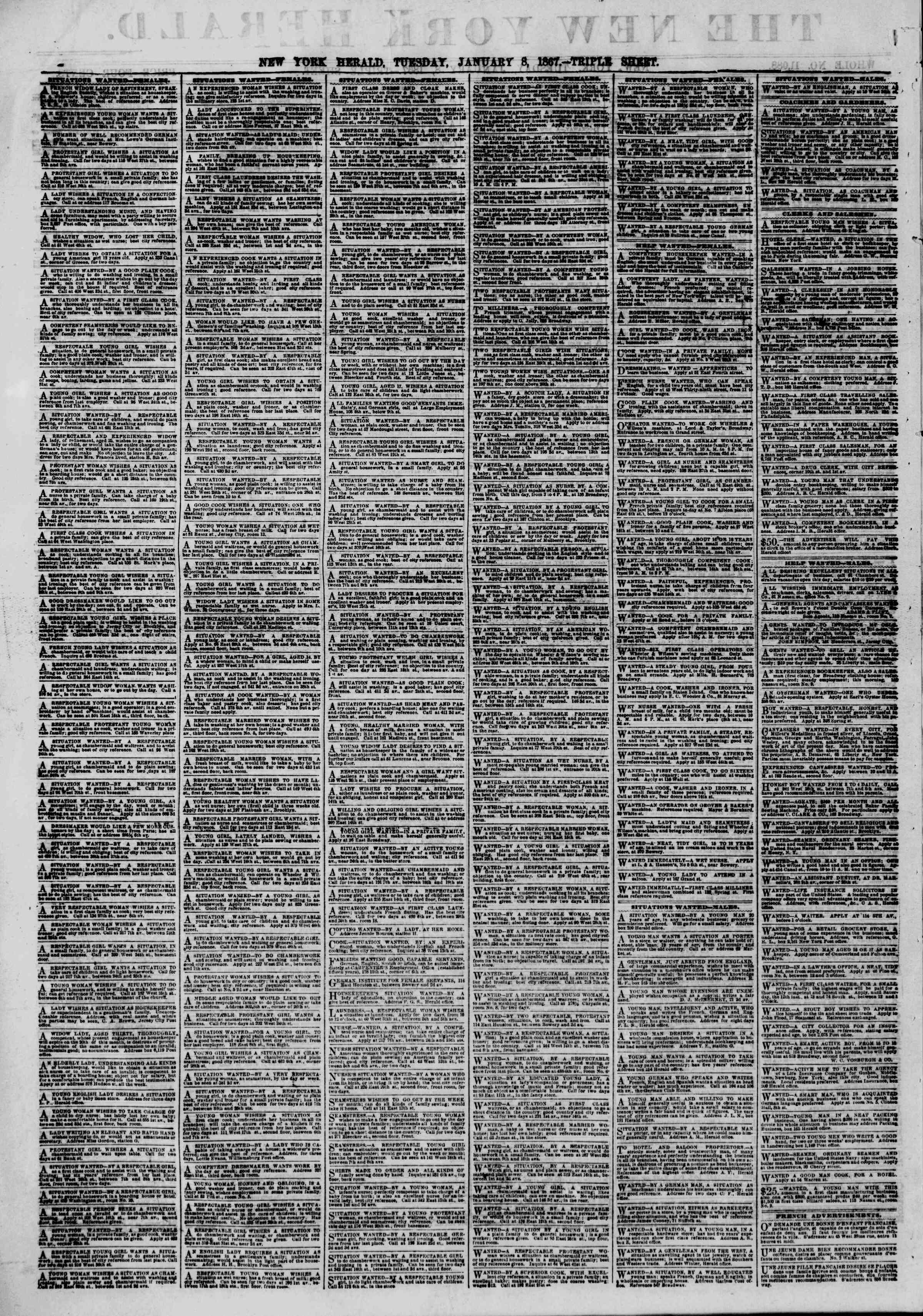 Newspaper of The New York Herald dated January 8, 1867 Page 2