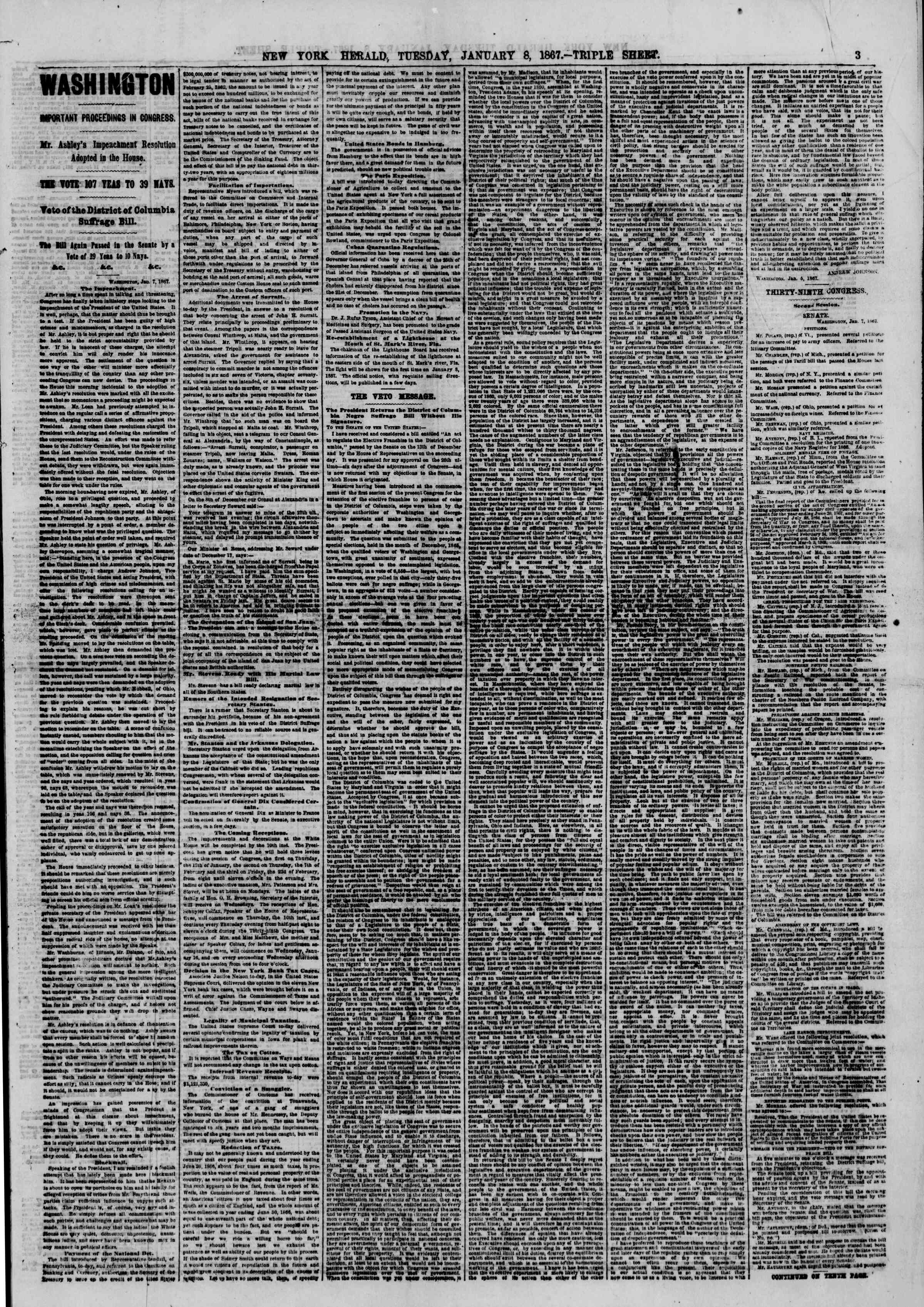 Newspaper of The New York Herald dated January 8, 1867 Page 3