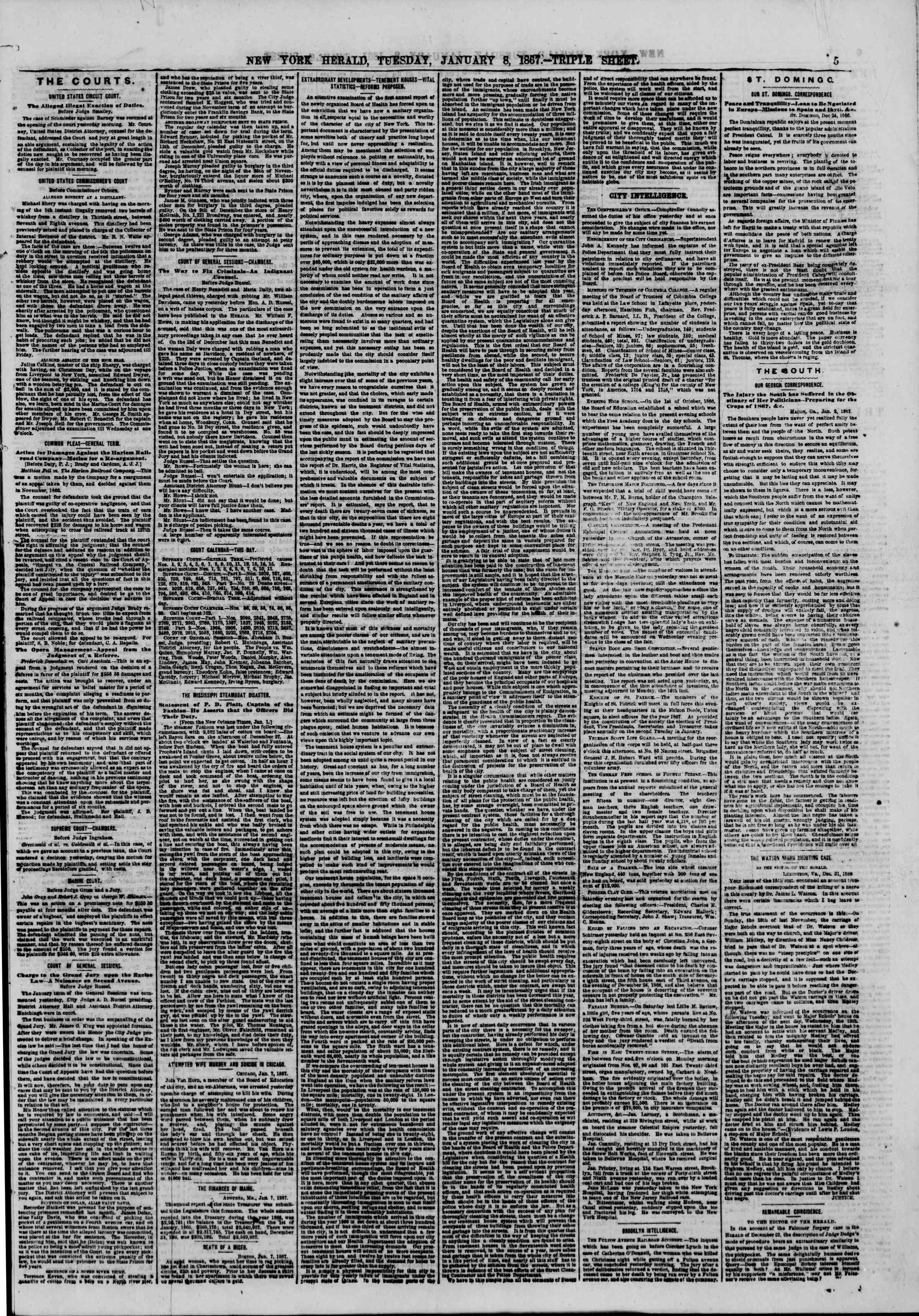 Newspaper of The New York Herald dated January 8, 1867 Page 5