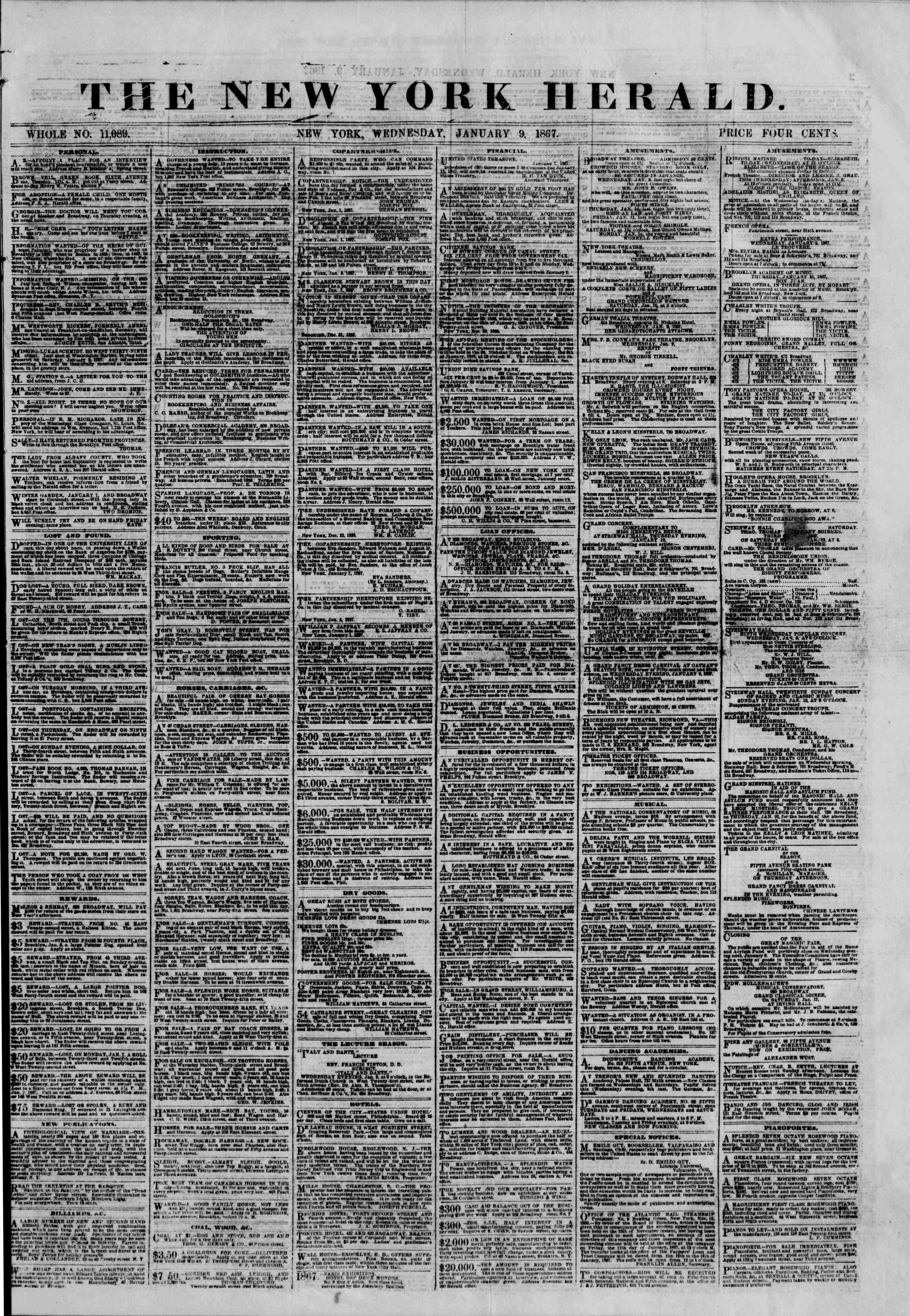 Newspaper of The New York Herald dated January 9, 1867 Page 1