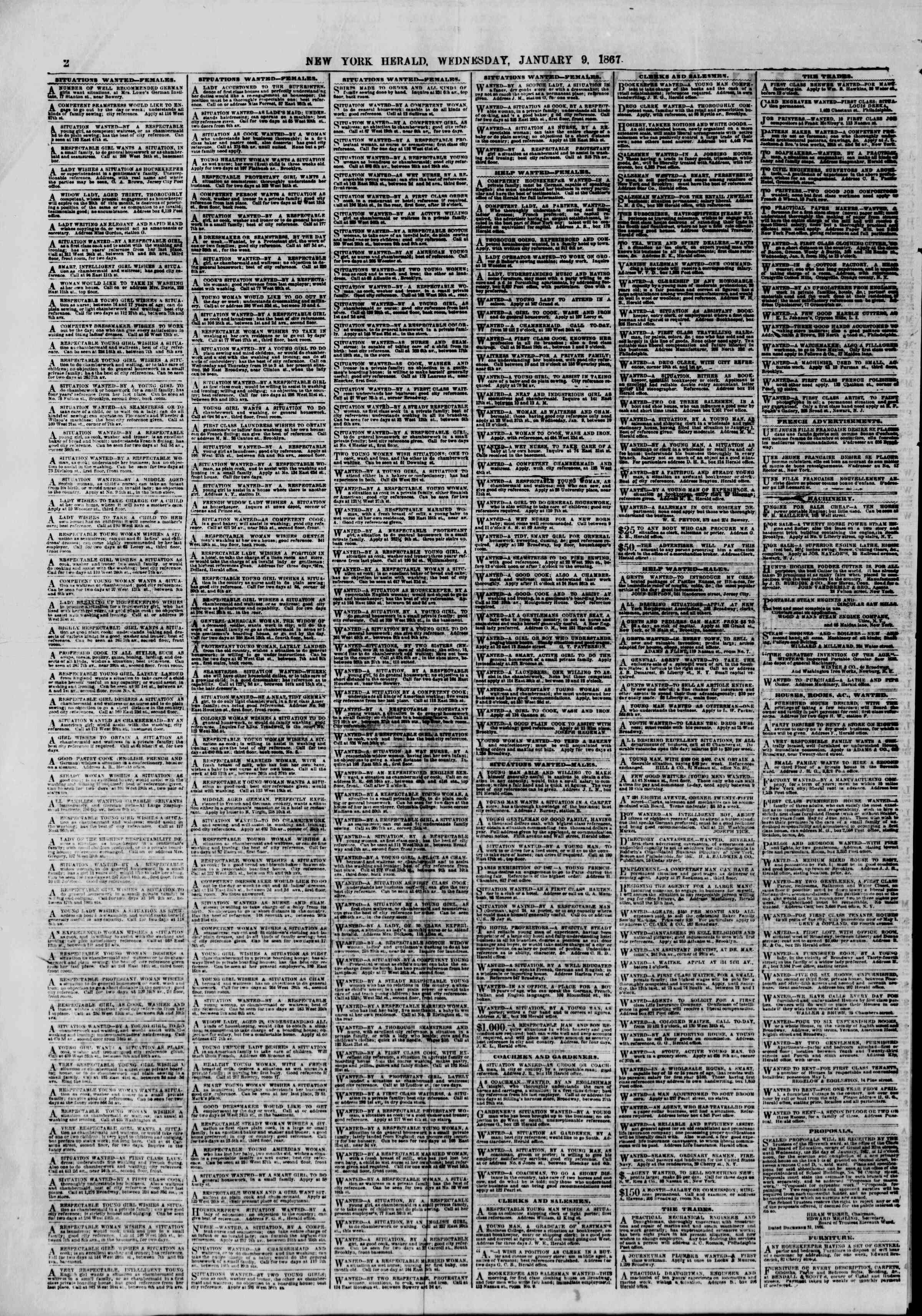 Newspaper of The New York Herald dated January 9, 1867 Page 2