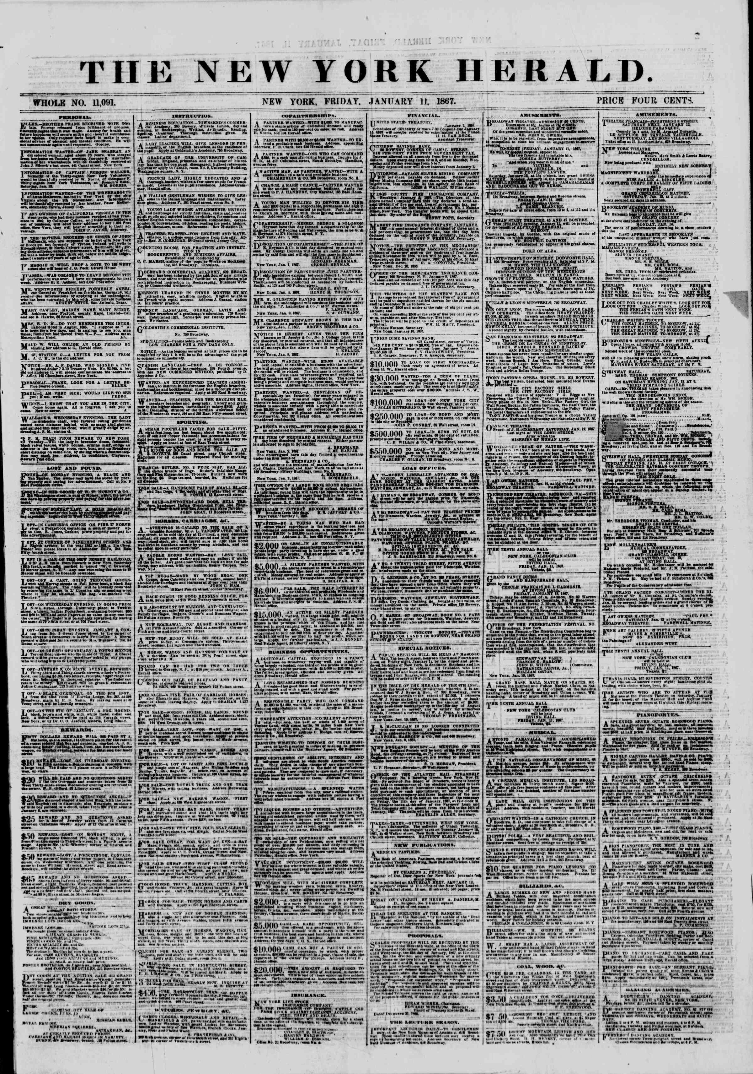 Newspaper of The New York Herald dated January 11, 1867 Page 1