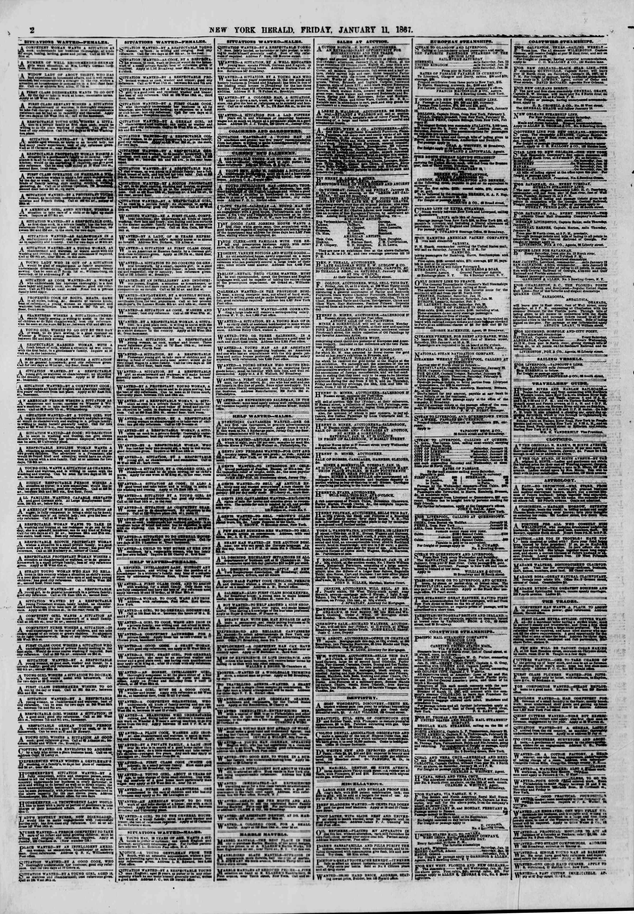 Newspaper of The New York Herald dated January 11, 1867 Page 2
