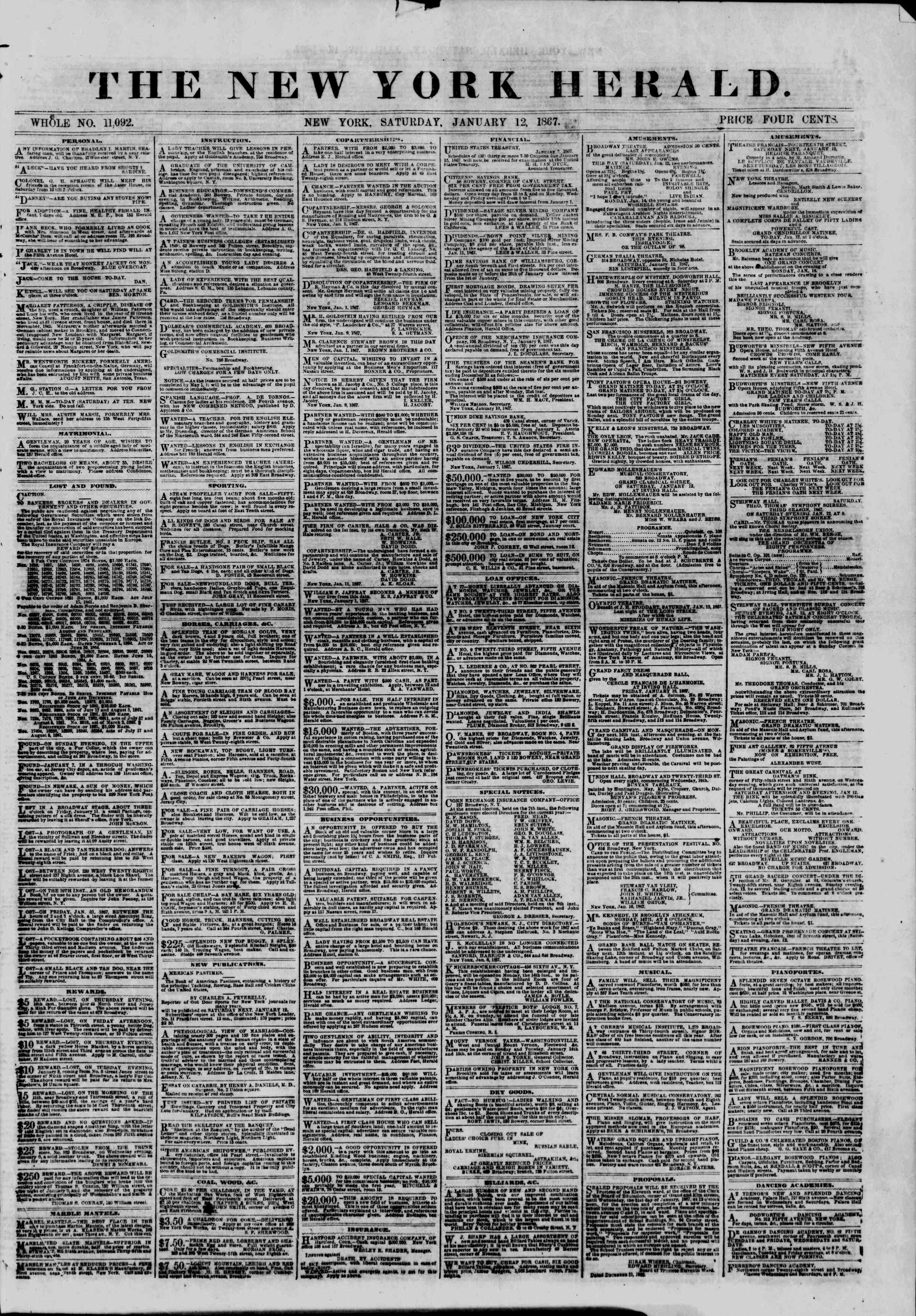 Newspaper of The New York Herald dated January 12, 1867 Page 1