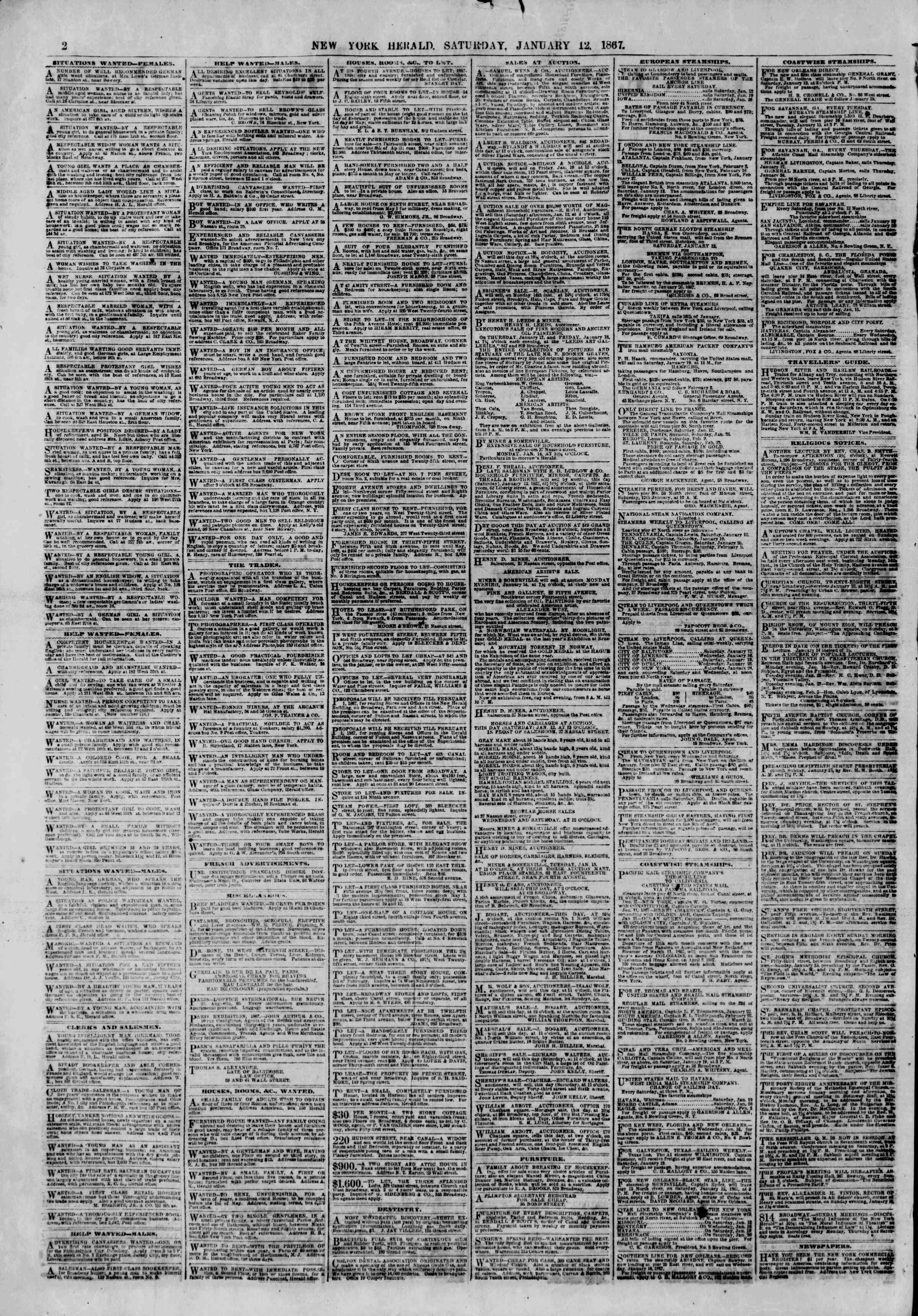 Newspaper of The New York Herald dated January 12, 1867 Page 2