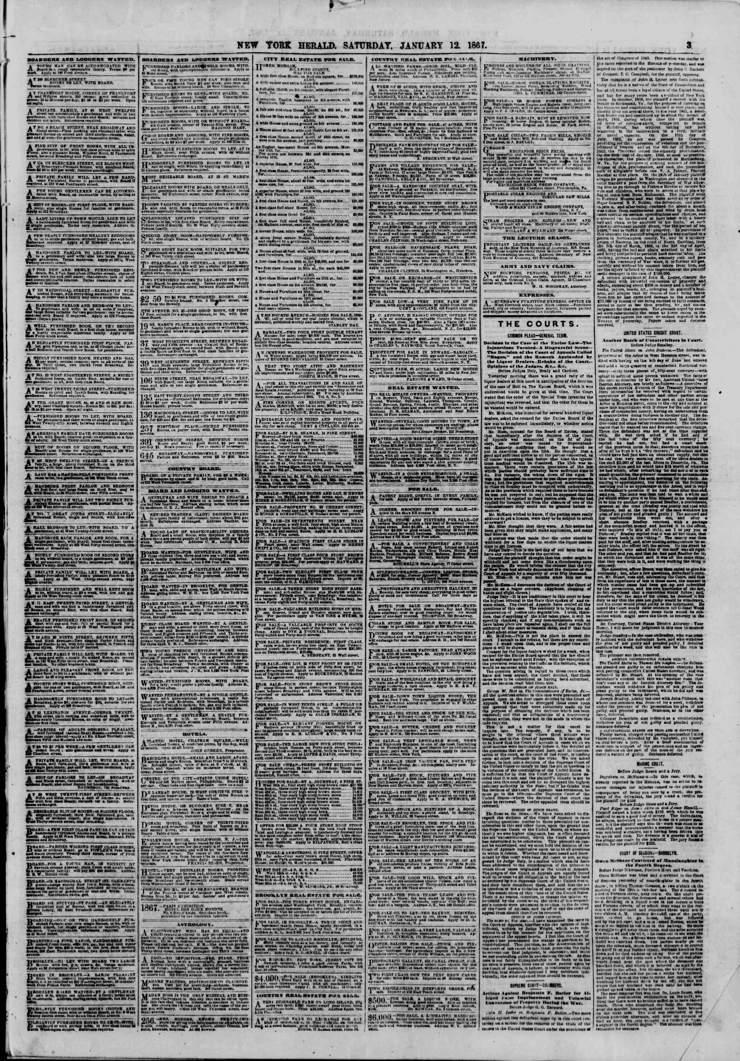 Newspaper of The New York Herald dated January 12, 1867 Page 3
