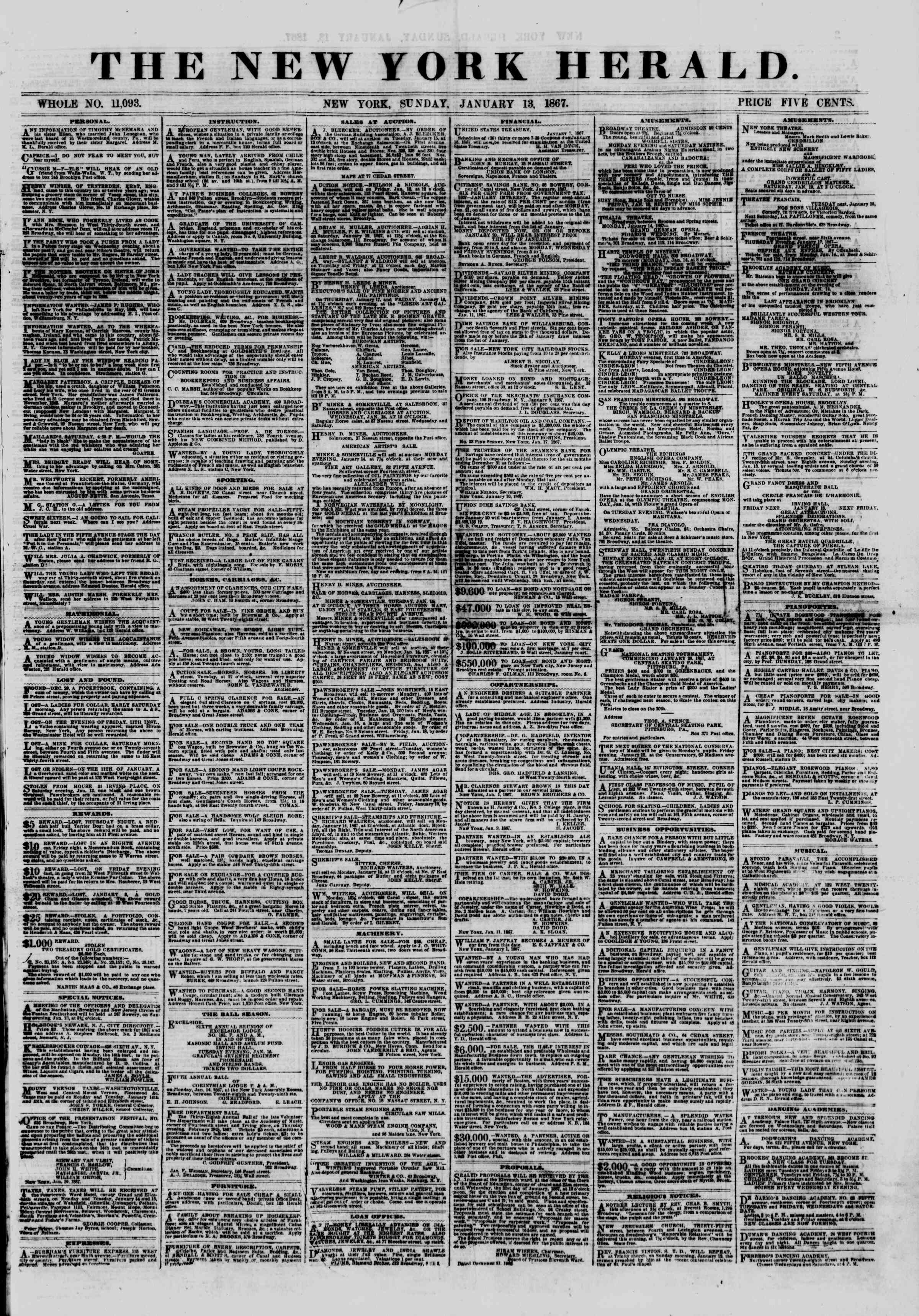 Newspaper of The New York Herald dated January 13, 1867 Page 1