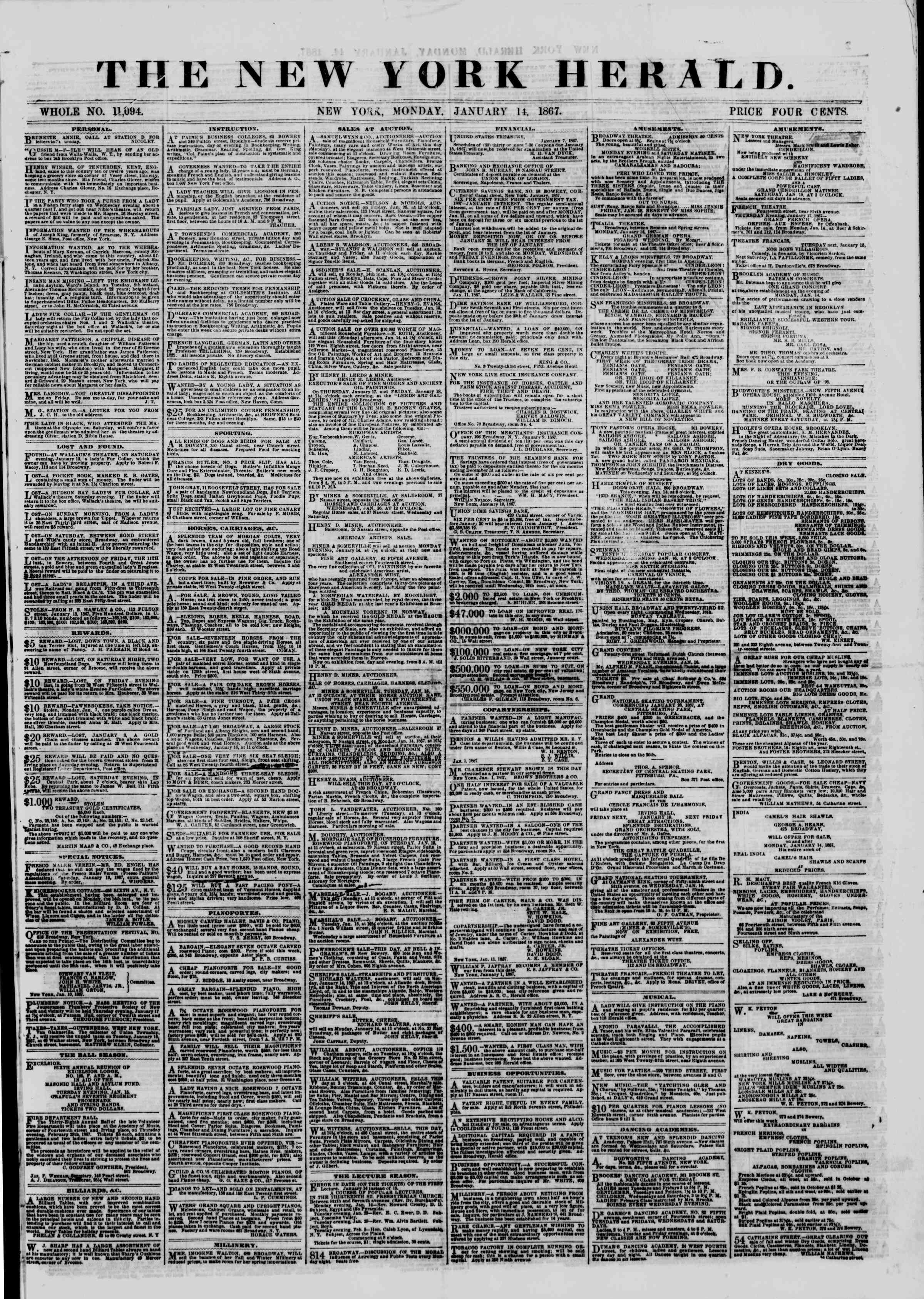 Newspaper of The New York Herald dated January 14, 1867 Page 1