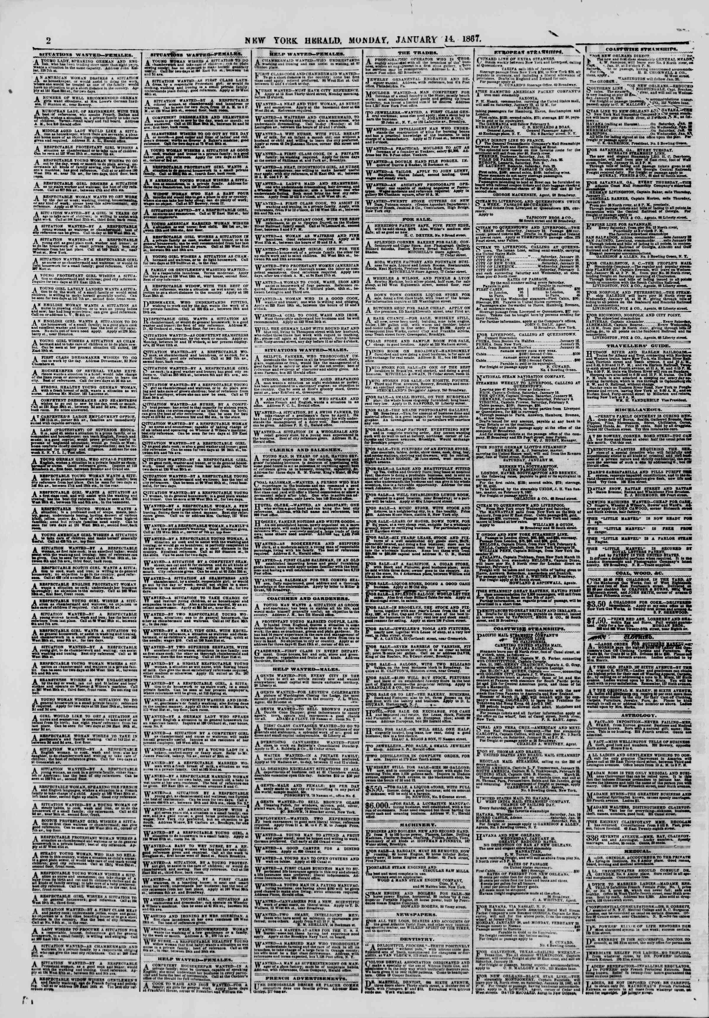 Newspaper of The New York Herald dated January 14, 1867 Page 2