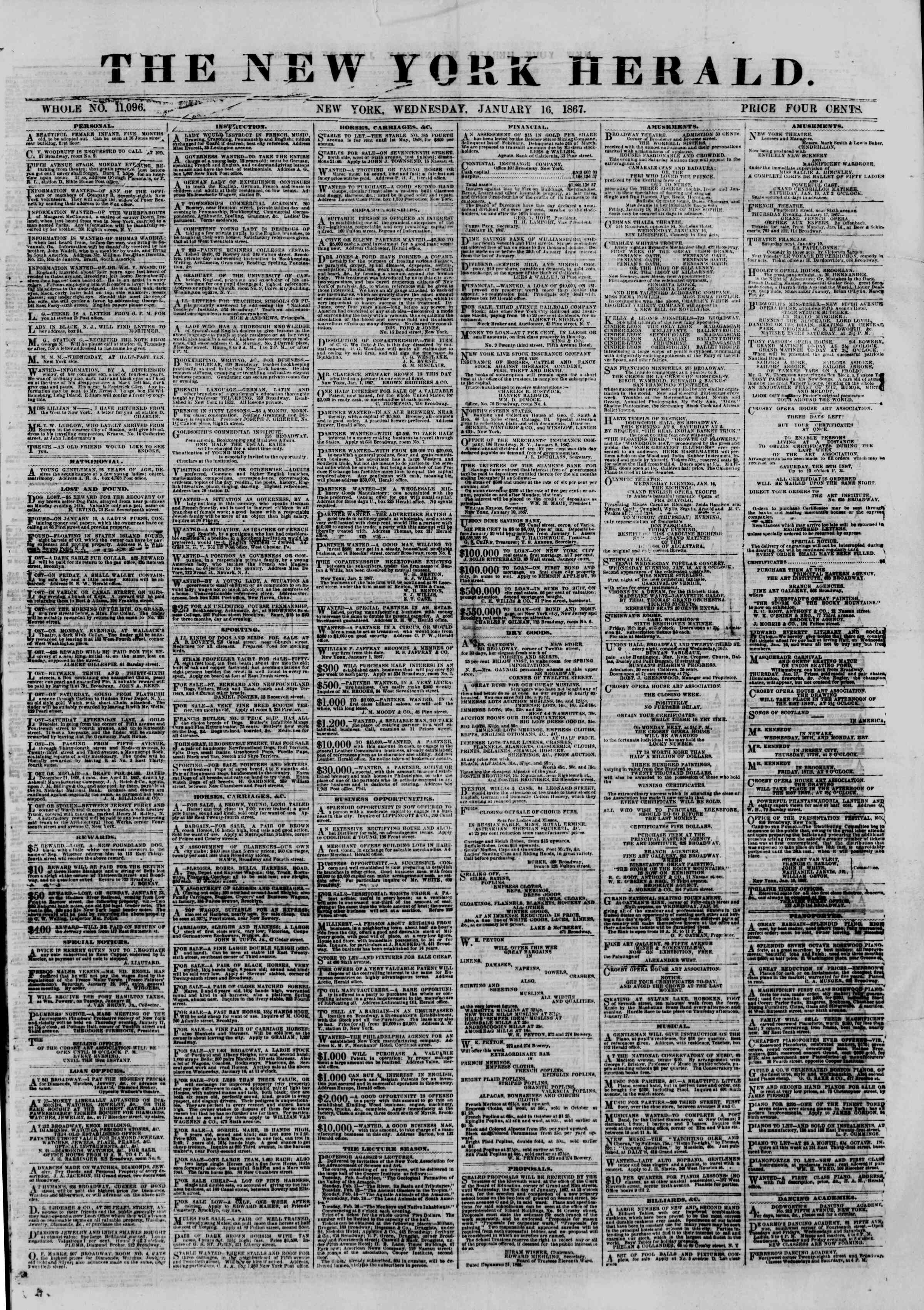 Newspaper of The New York Herald dated January 16, 1867 Page 1