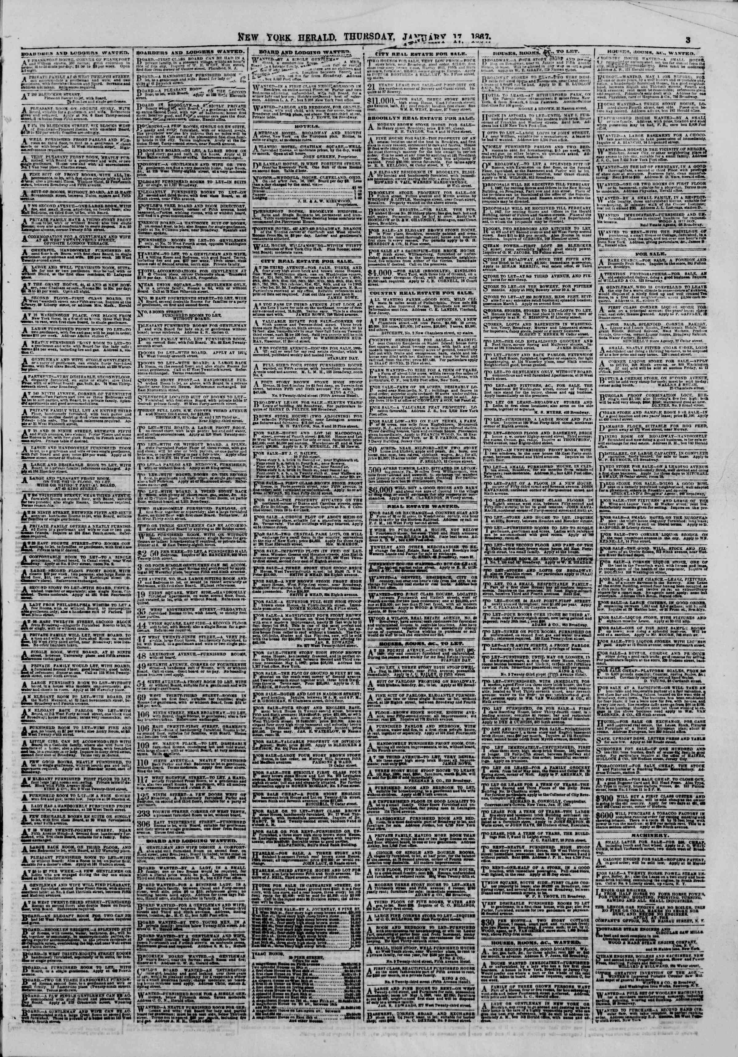 Newspaper of The New York Herald dated January 17, 1867 Page 3