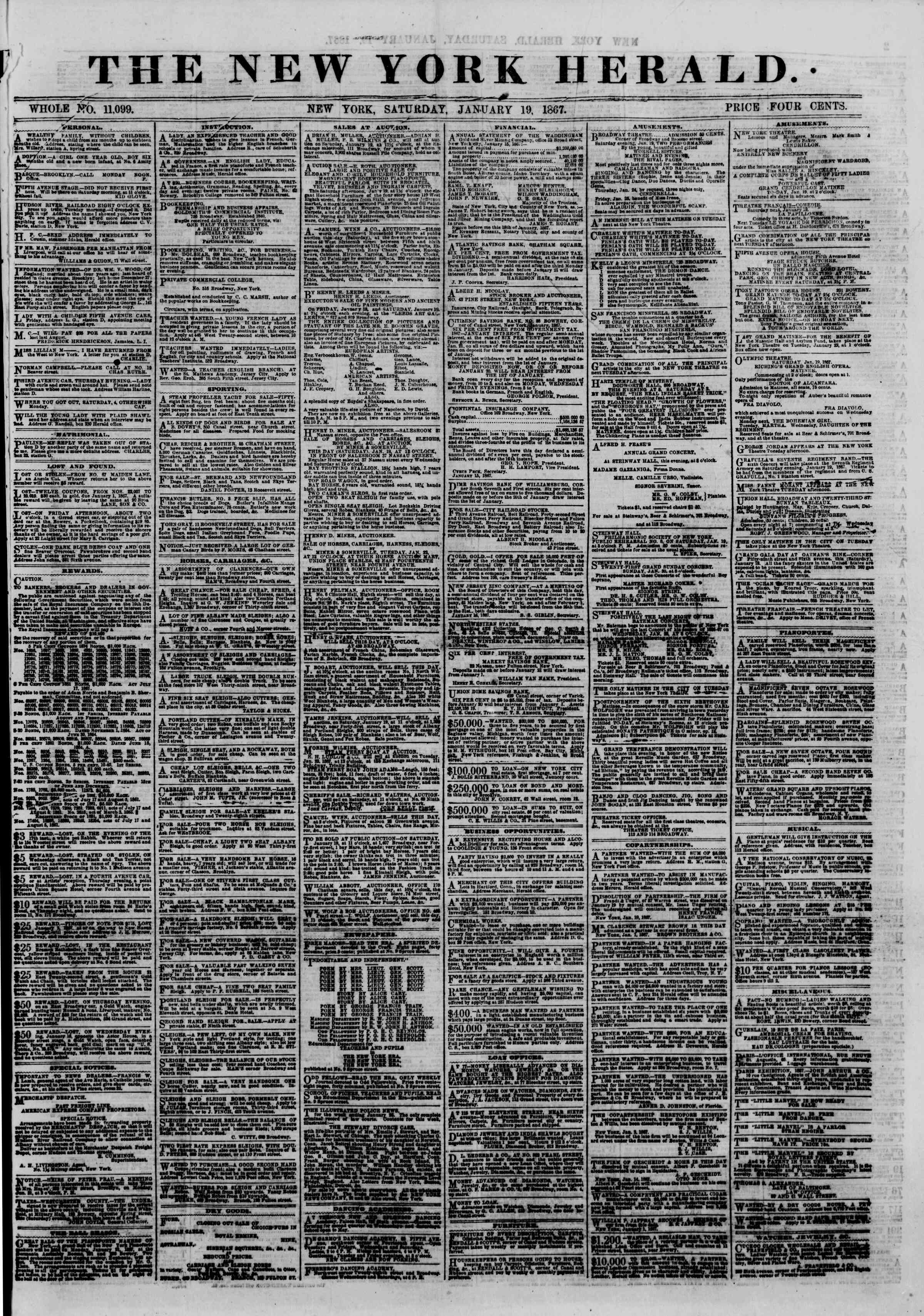 Newspaper of The New York Herald dated January 19, 1867 Page 1