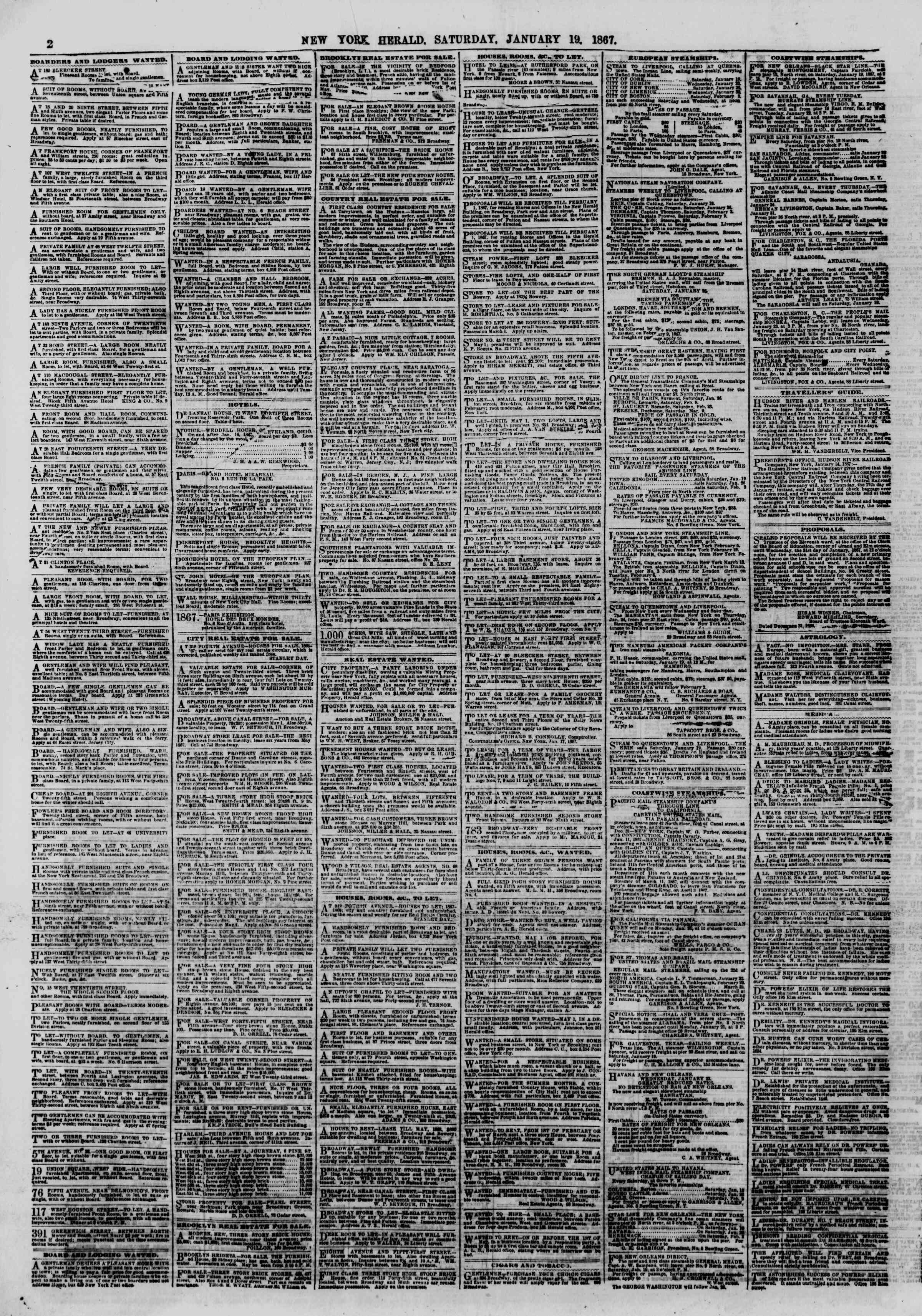 Newspaper of The New York Herald dated January 19, 1867 Page 2