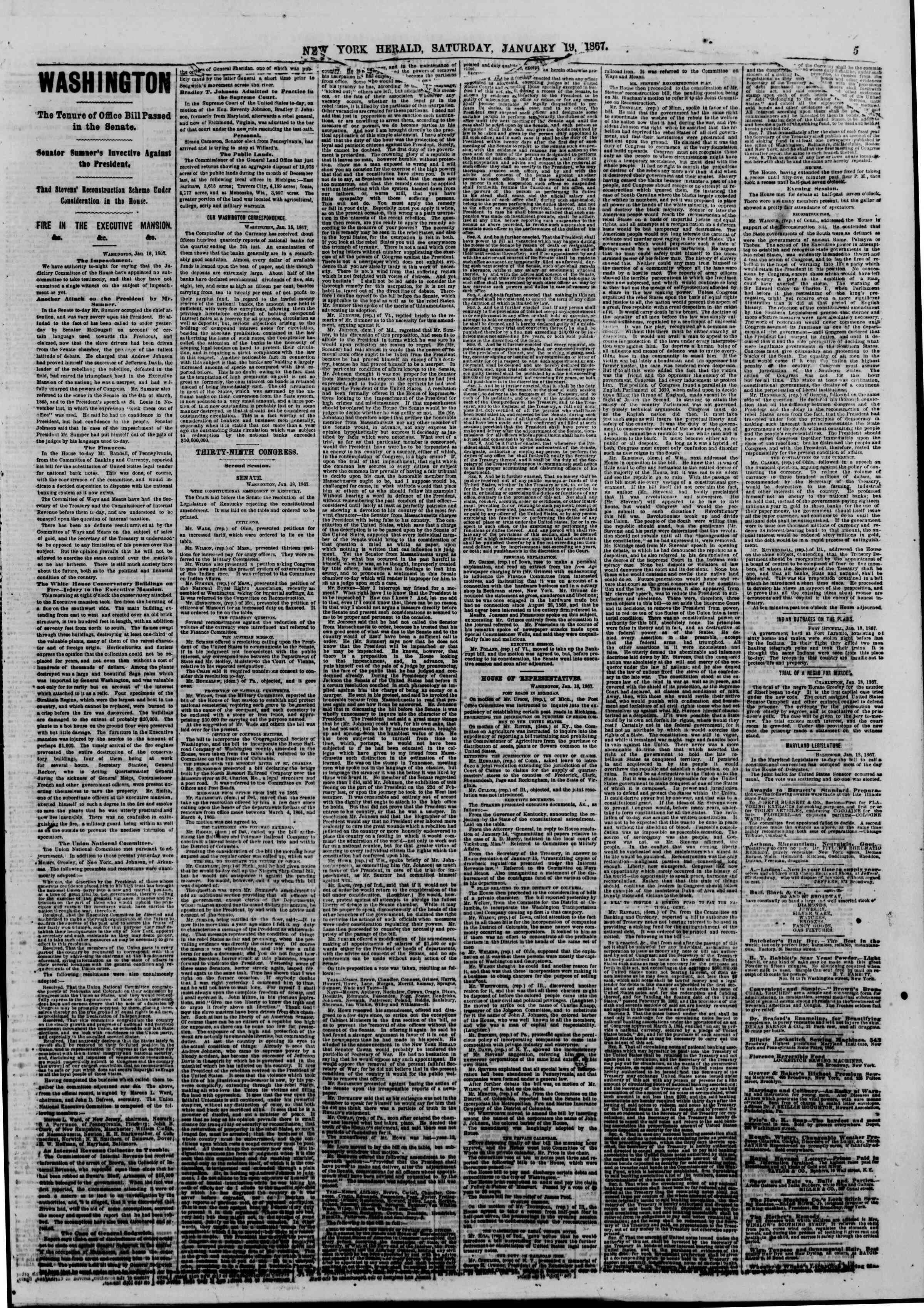 Newspaper of The New York Herald dated January 19, 1867 Page 5