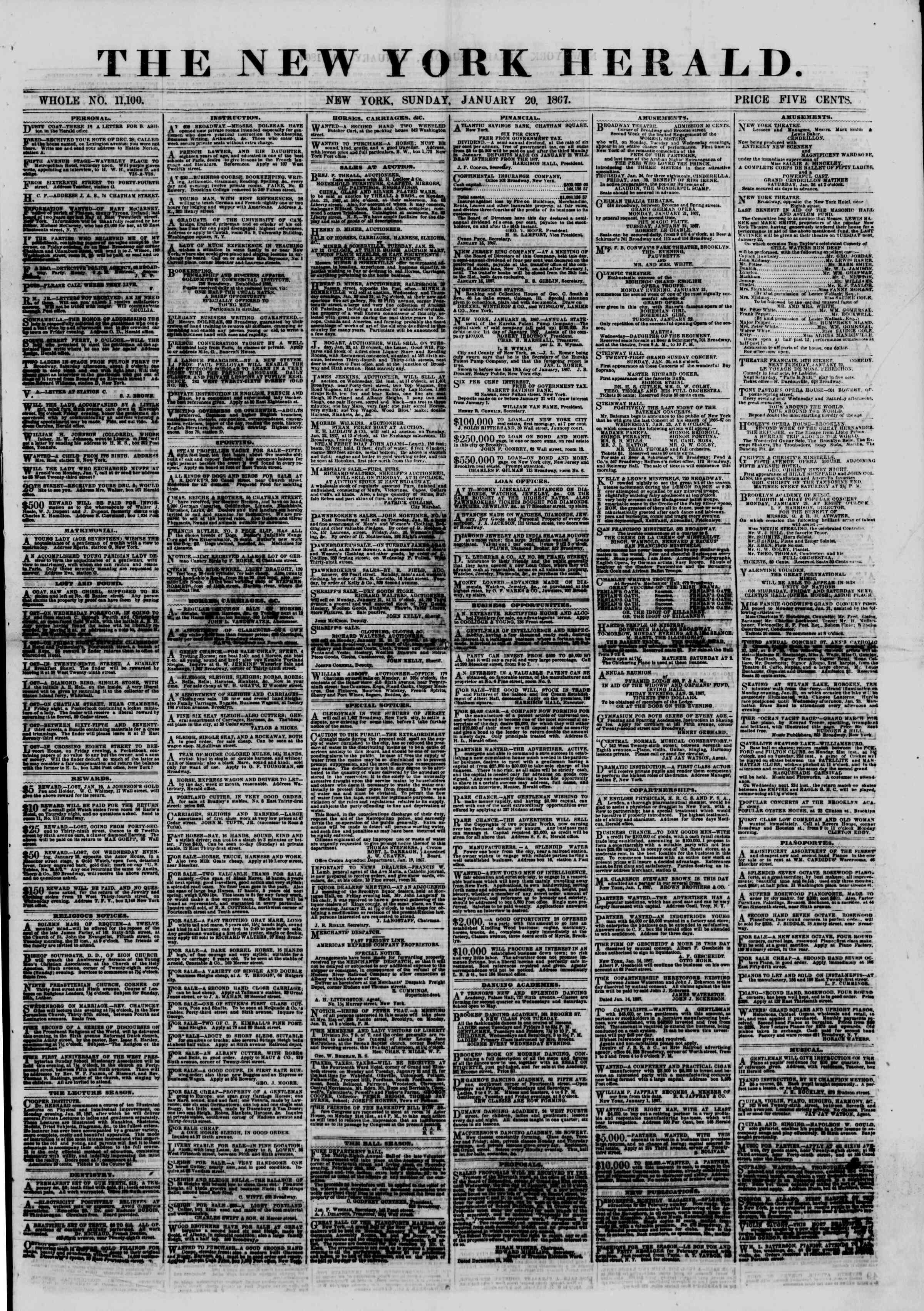 Newspaper of The New York Herald dated January 20, 1867 Page 1