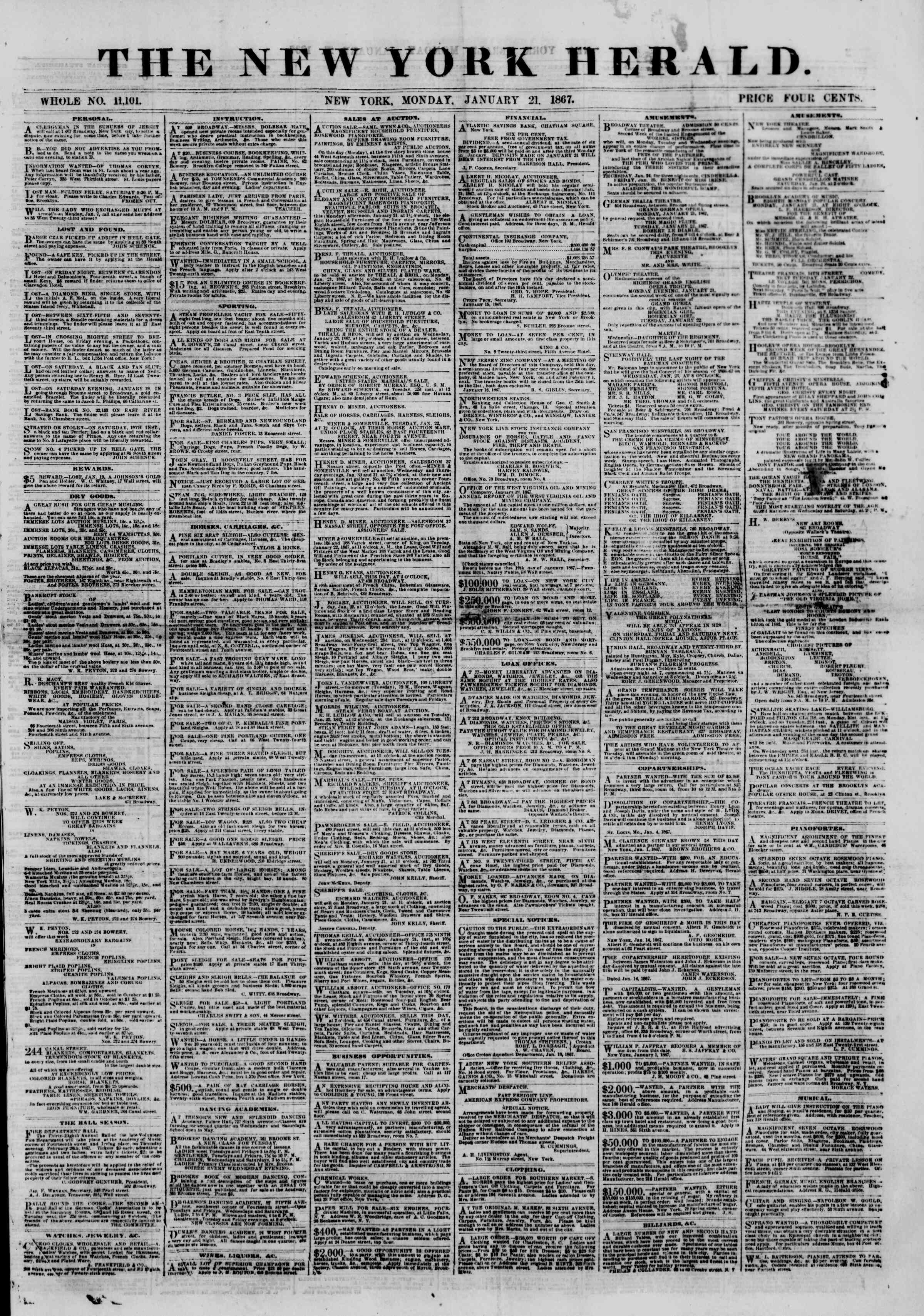 Newspaper of The New York Herald dated January 21, 1867 Page 1