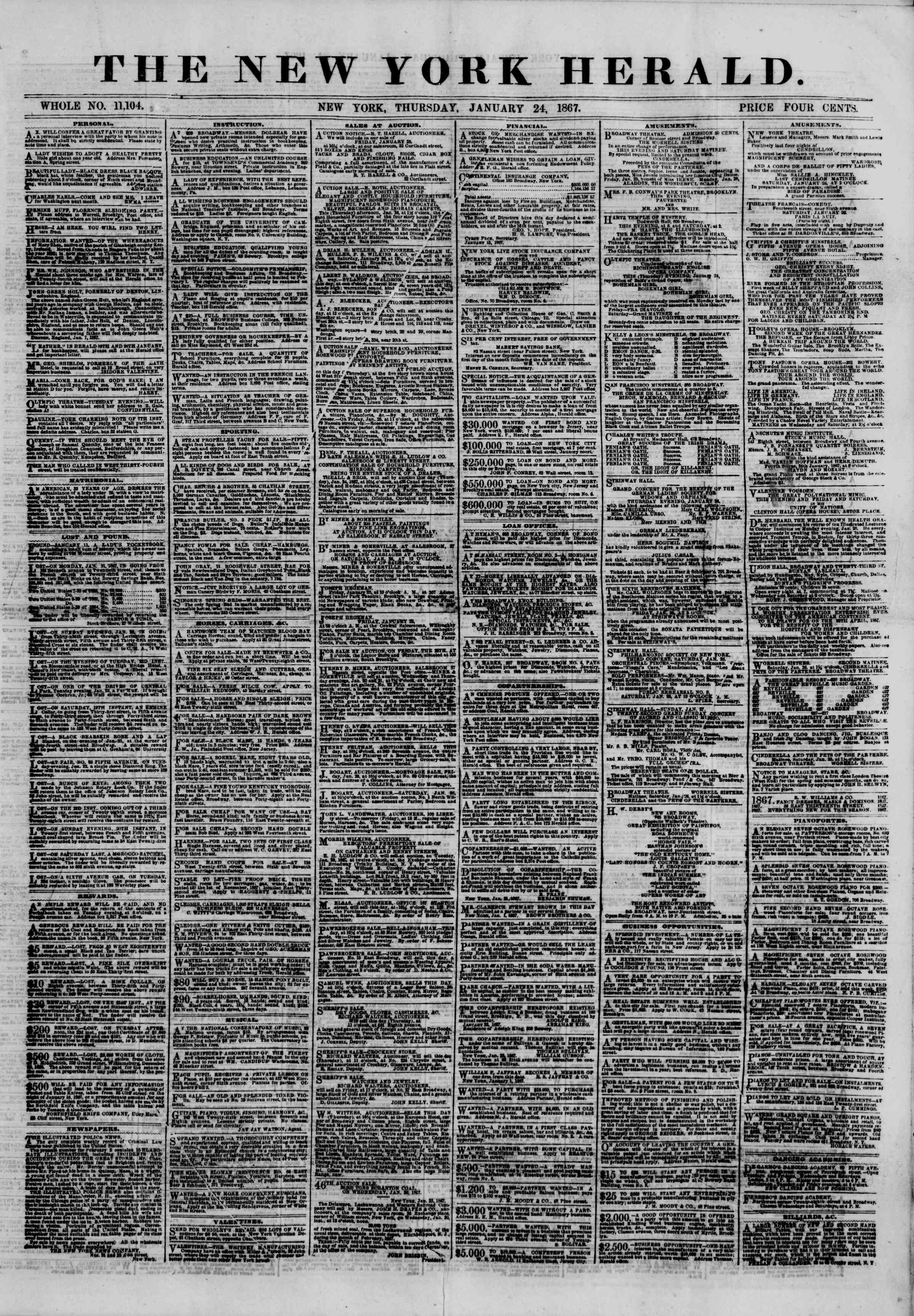 Newspaper of The New York Herald dated January 24, 1867 Page 1