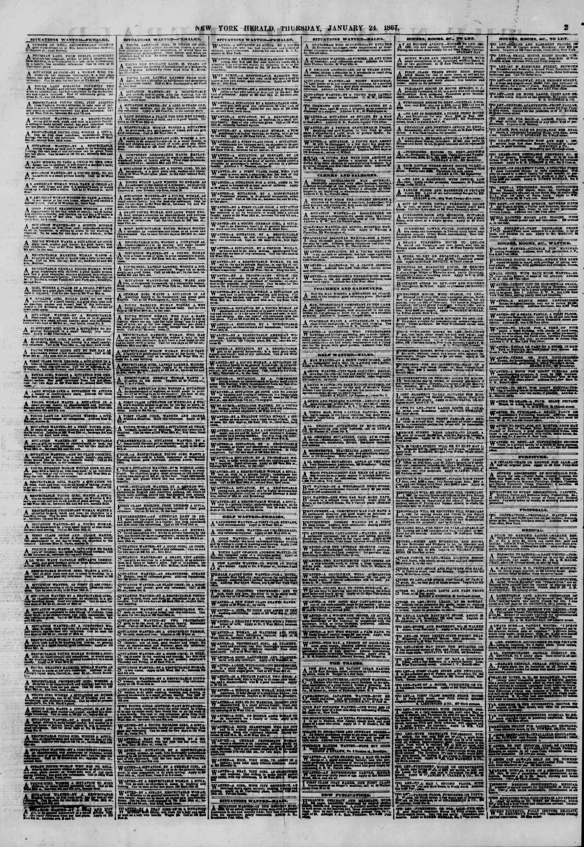 Newspaper of The New York Herald dated January 24, 1867 Page 2