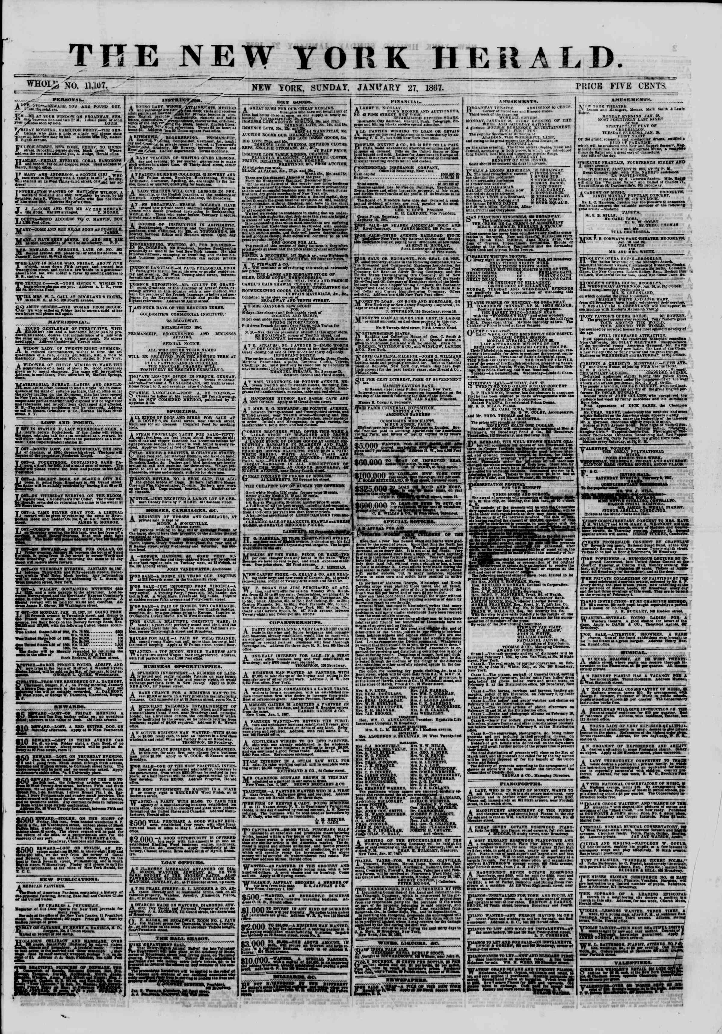 Newspaper of The New York Herald dated January 27, 1867 Page 1