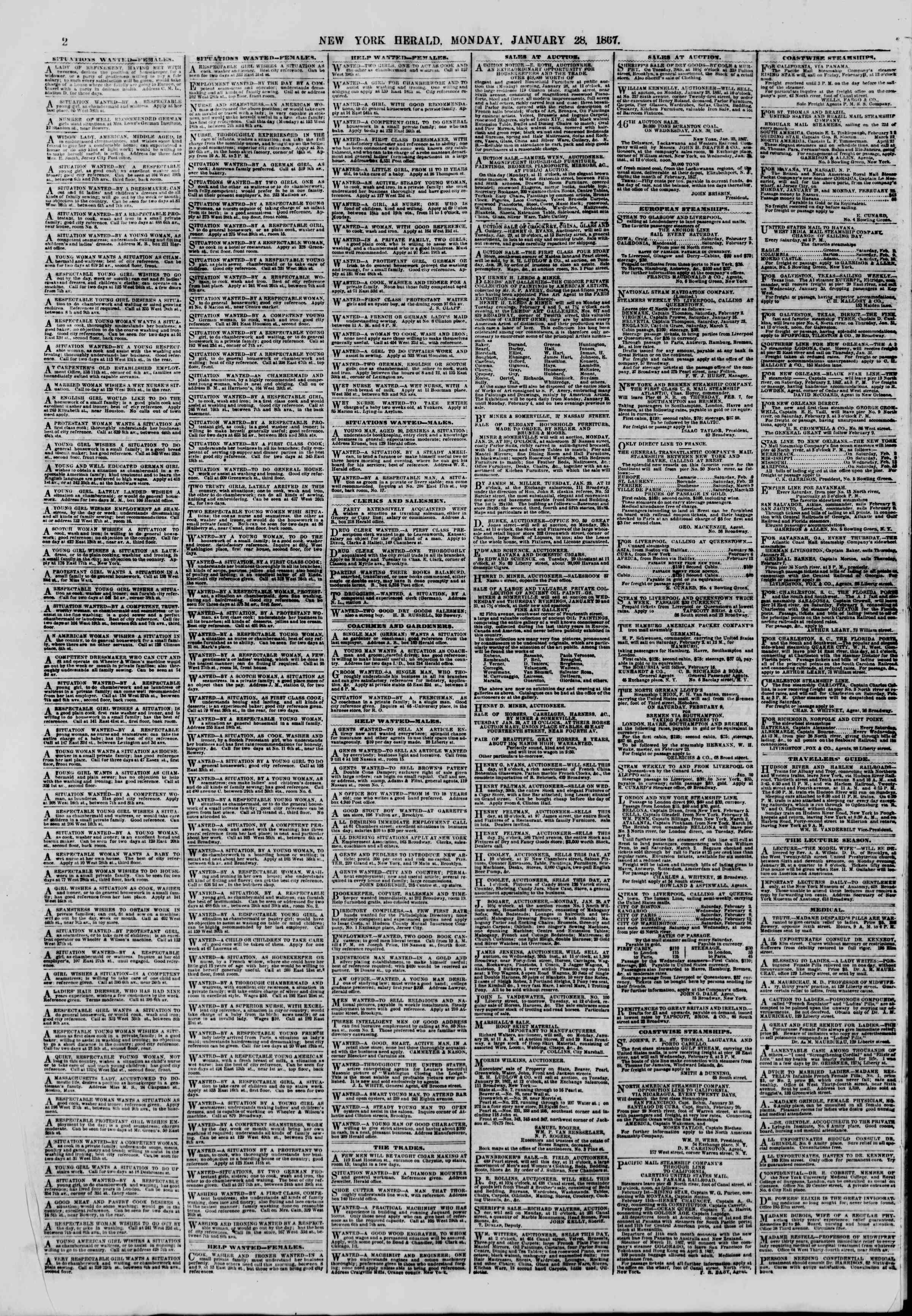 Newspaper of The New York Herald dated January 28, 1867 Page 2