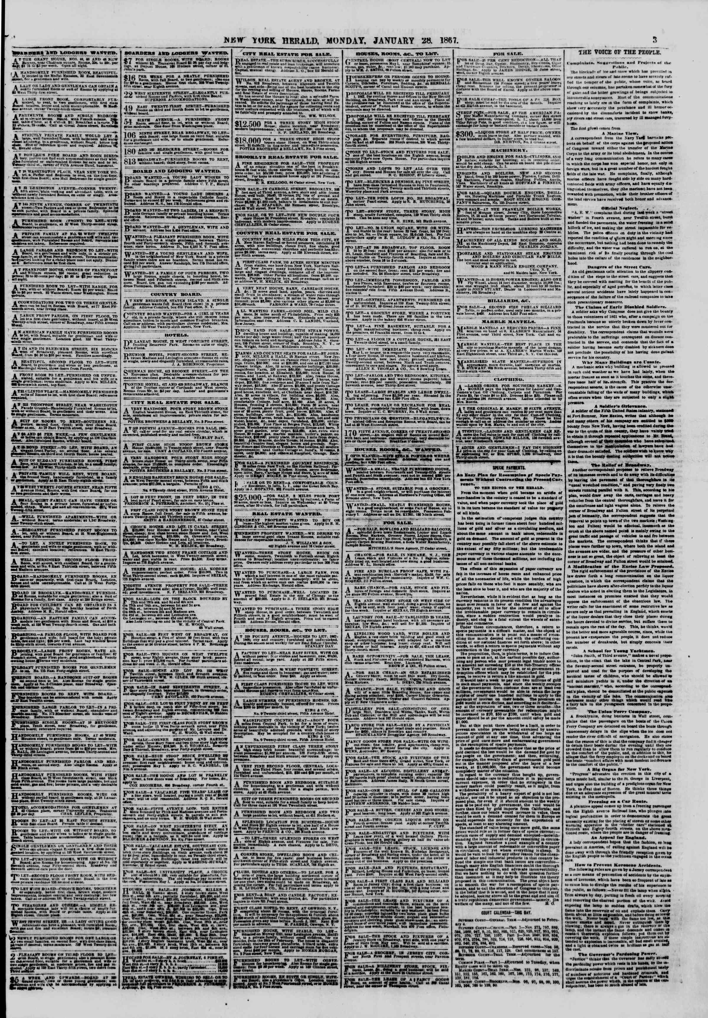 Newspaper of The New York Herald dated January 28, 1867 Page 3