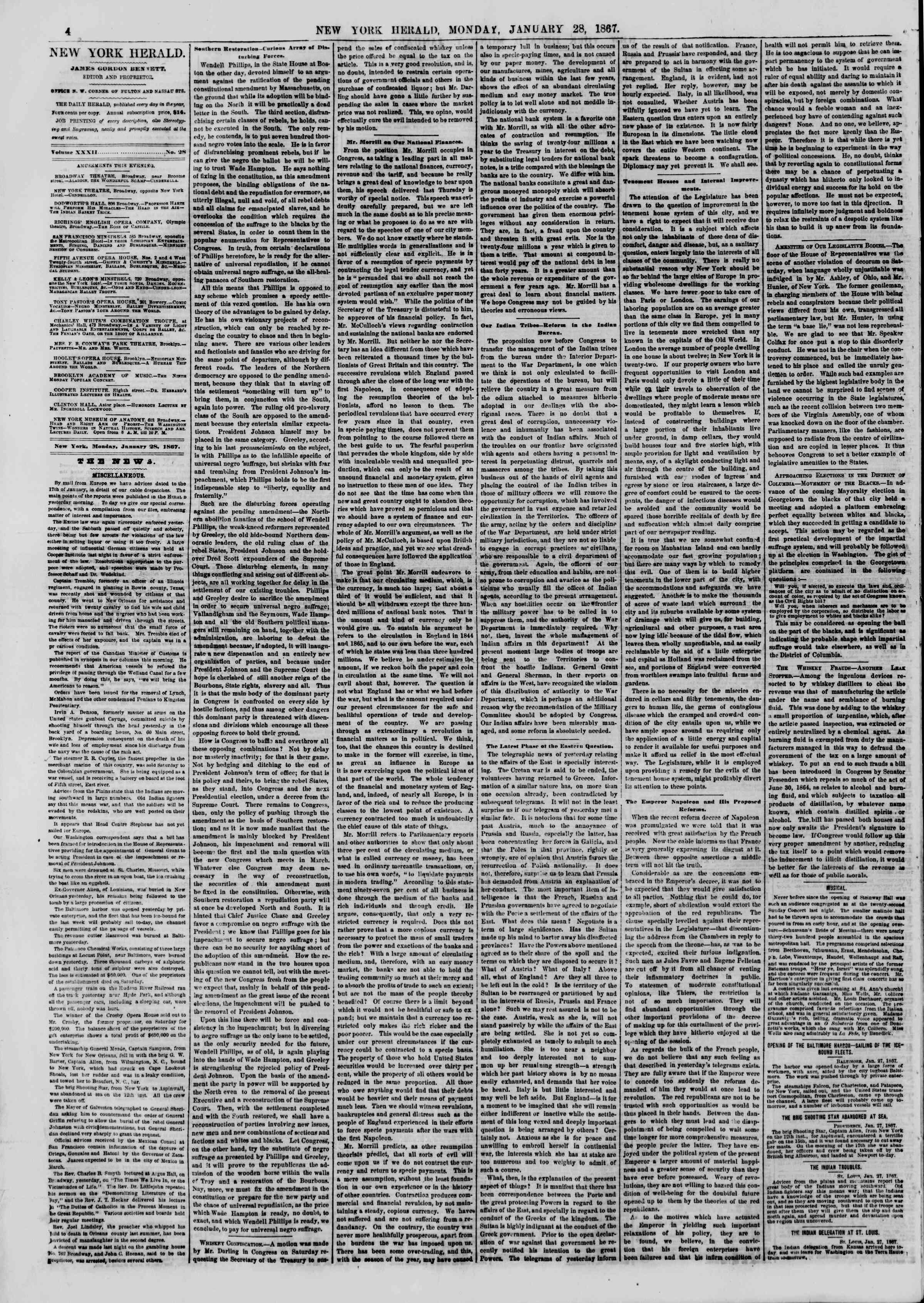 Newspaper of The New York Herald dated January 28, 1867 Page 4