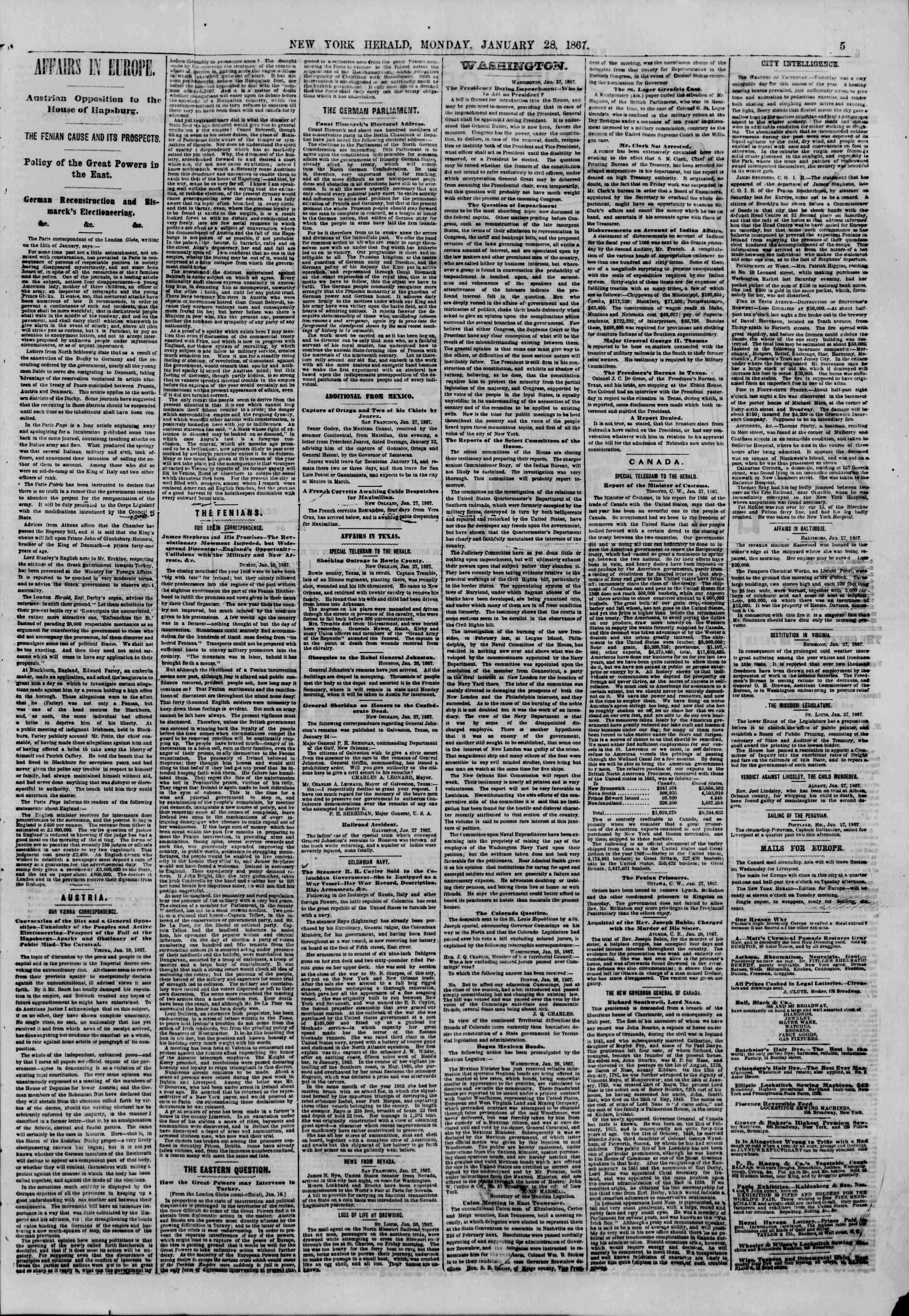 Newspaper of The New York Herald dated January 28, 1867 Page 5