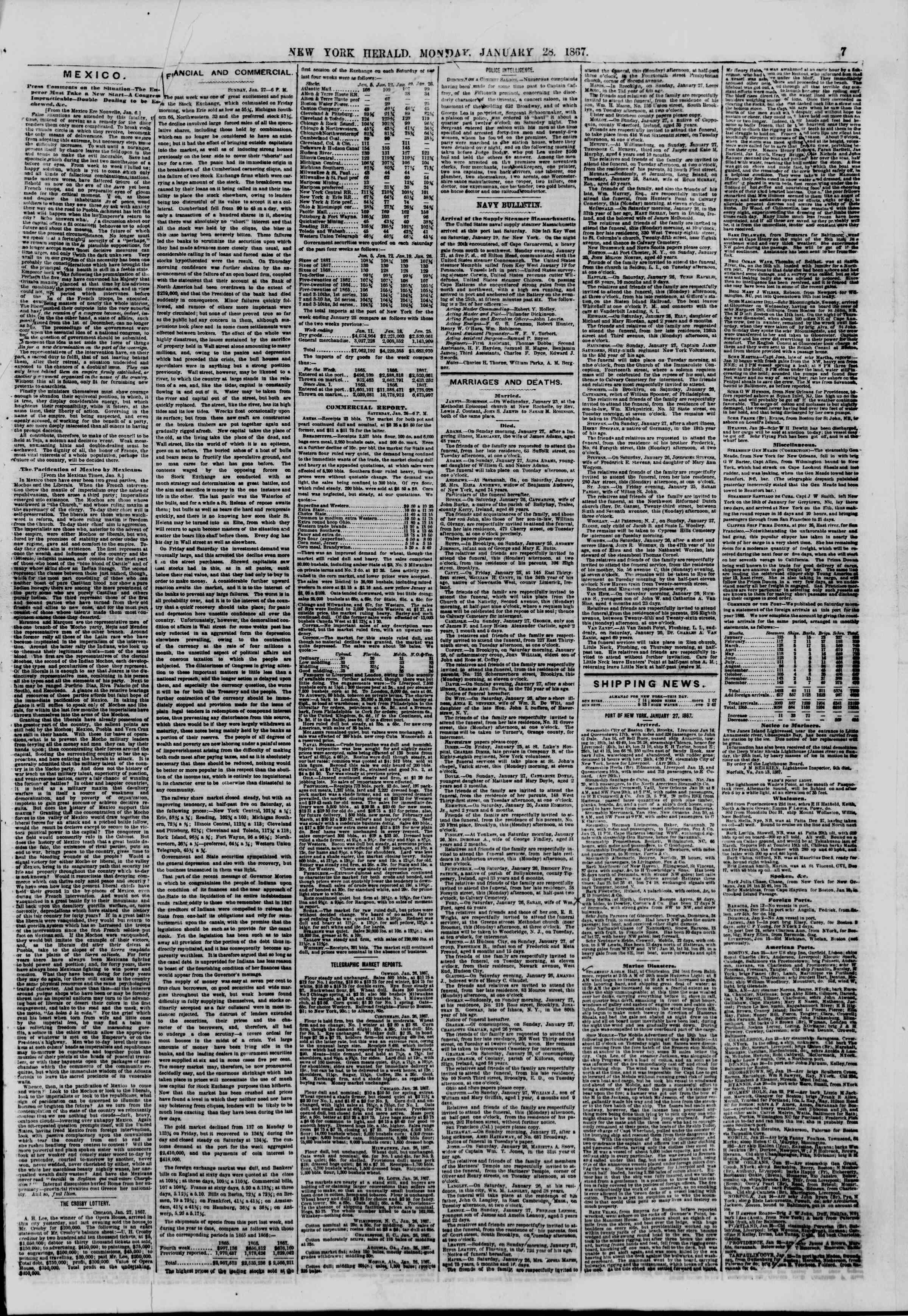 Newspaper of The New York Herald dated January 28, 1867 Page 7