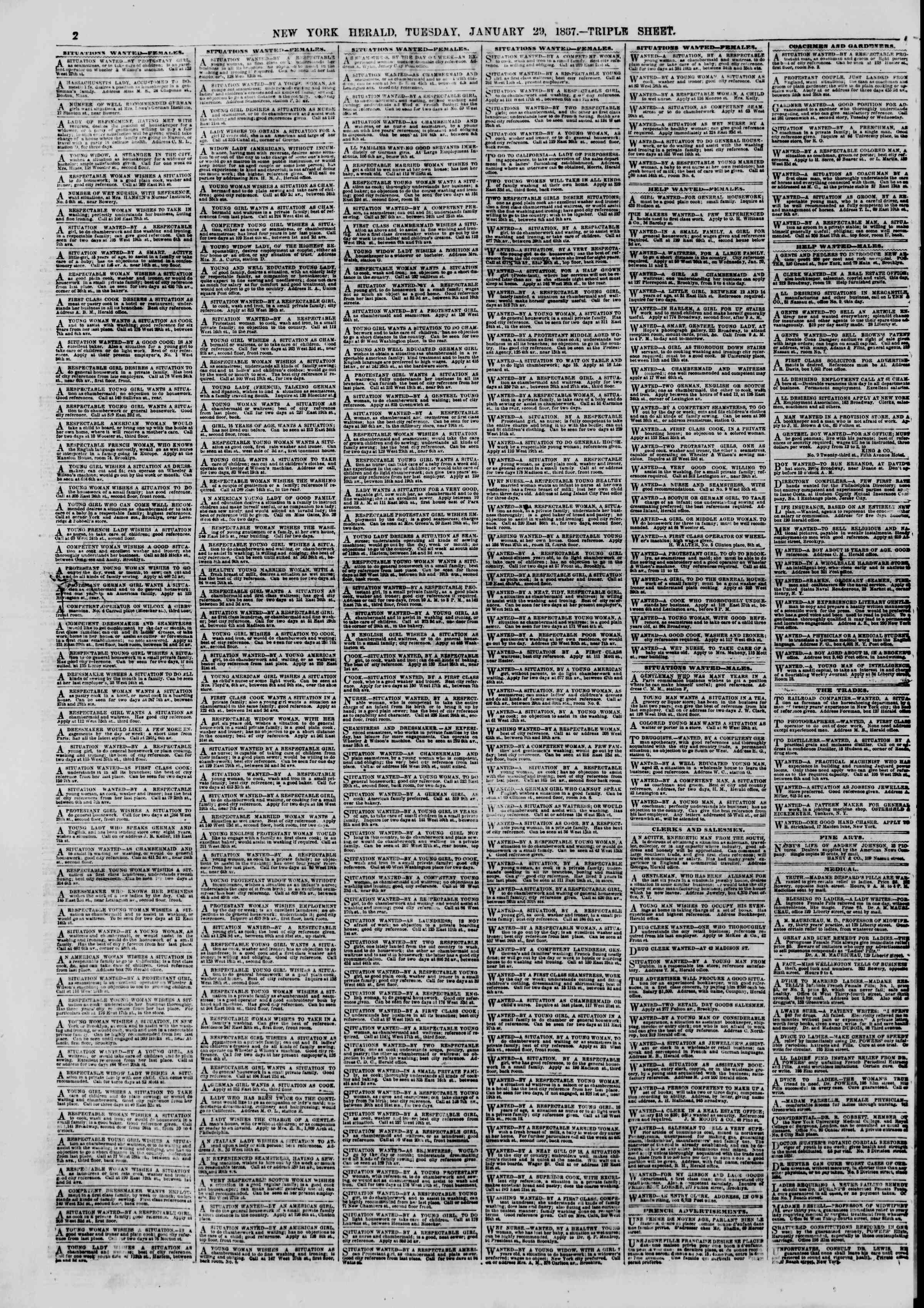 Newspaper of The New York Herald dated January 29, 1867 Page 2