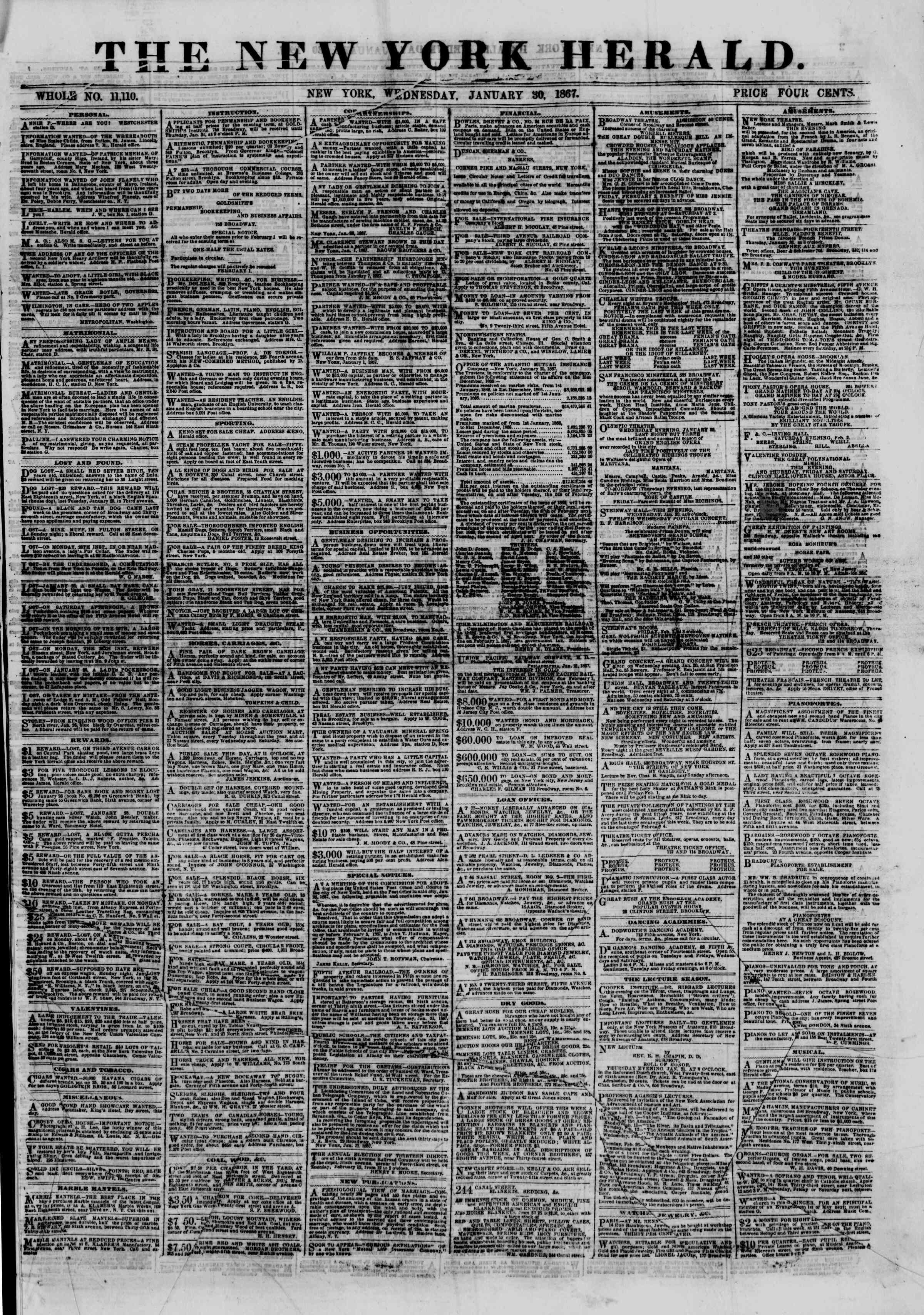 Newspaper of The New York Herald dated January 30, 1867 Page 1