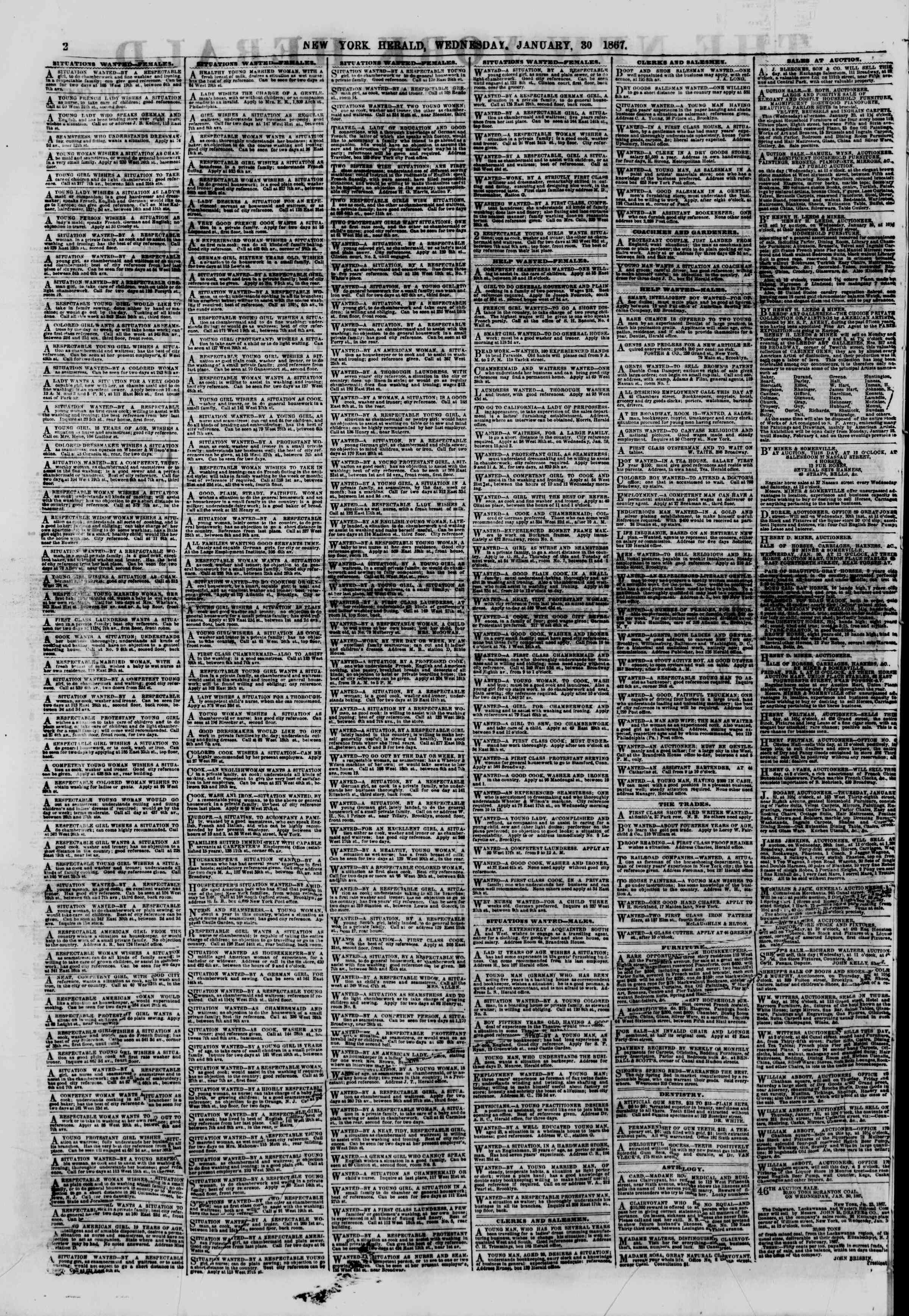 Newspaper of The New York Herald dated January 30, 1867 Page 2