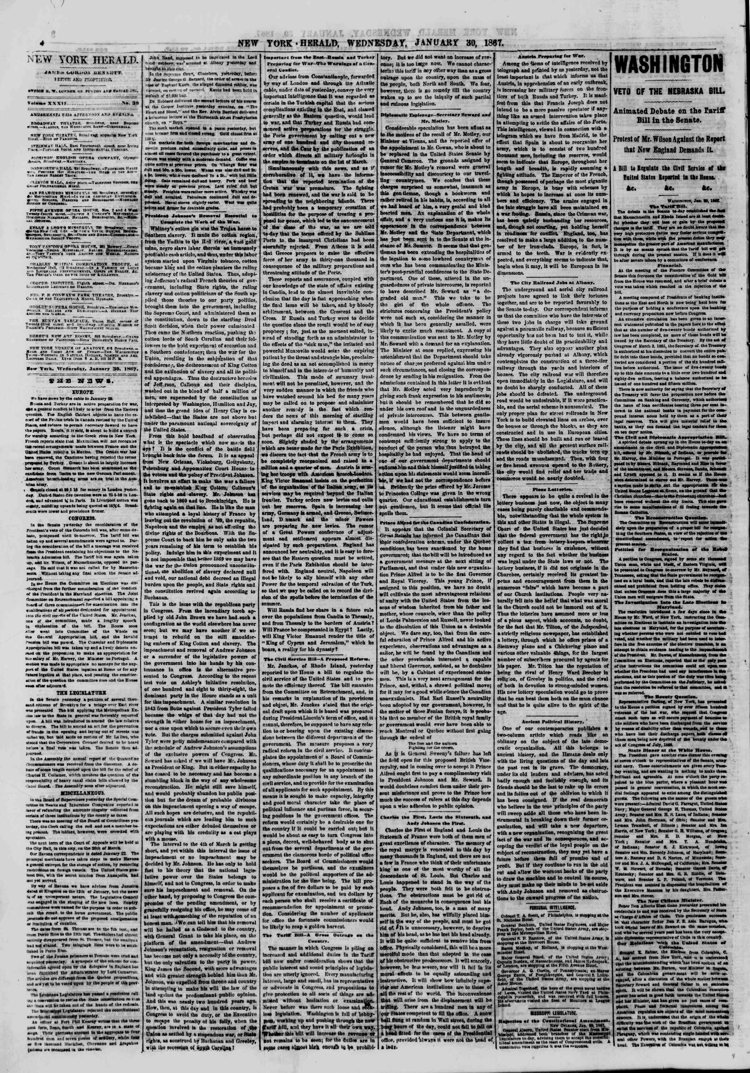 Newspaper of The New York Herald dated January 30, 1867 Page 4