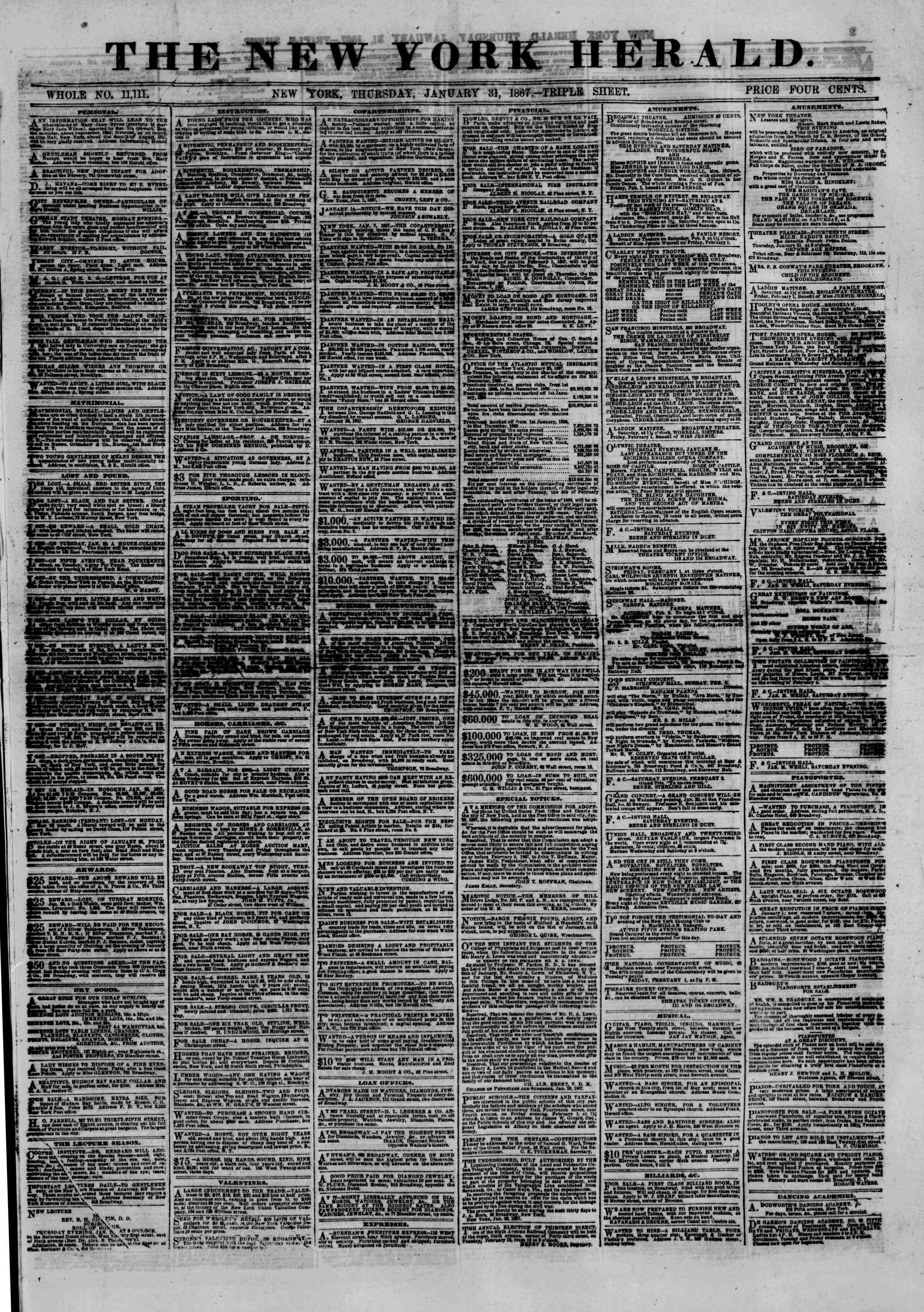 Newspaper of The New York Herald dated January 31, 1867 Page 1