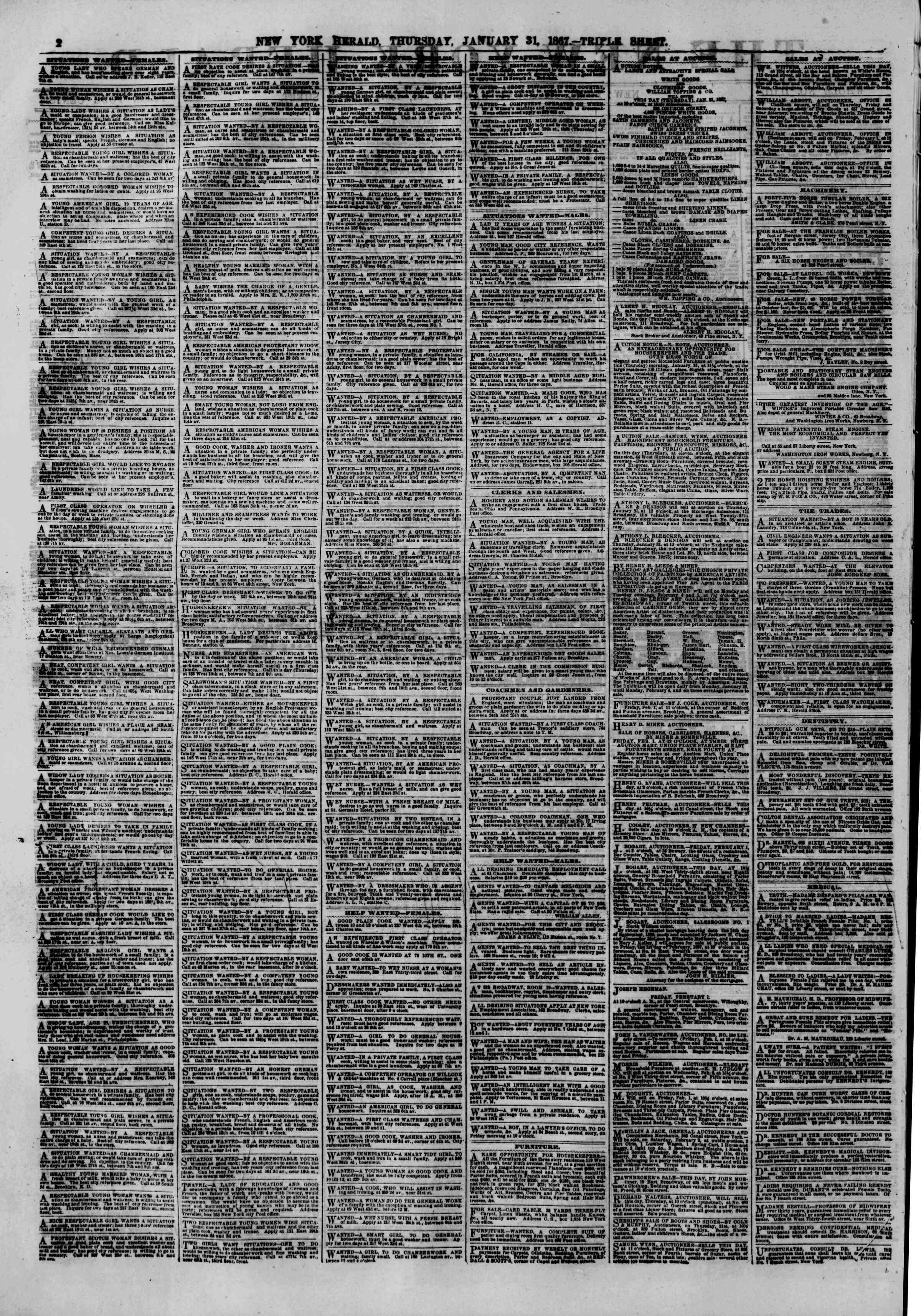 Newspaper of The New York Herald dated January 31, 1867 Page 2