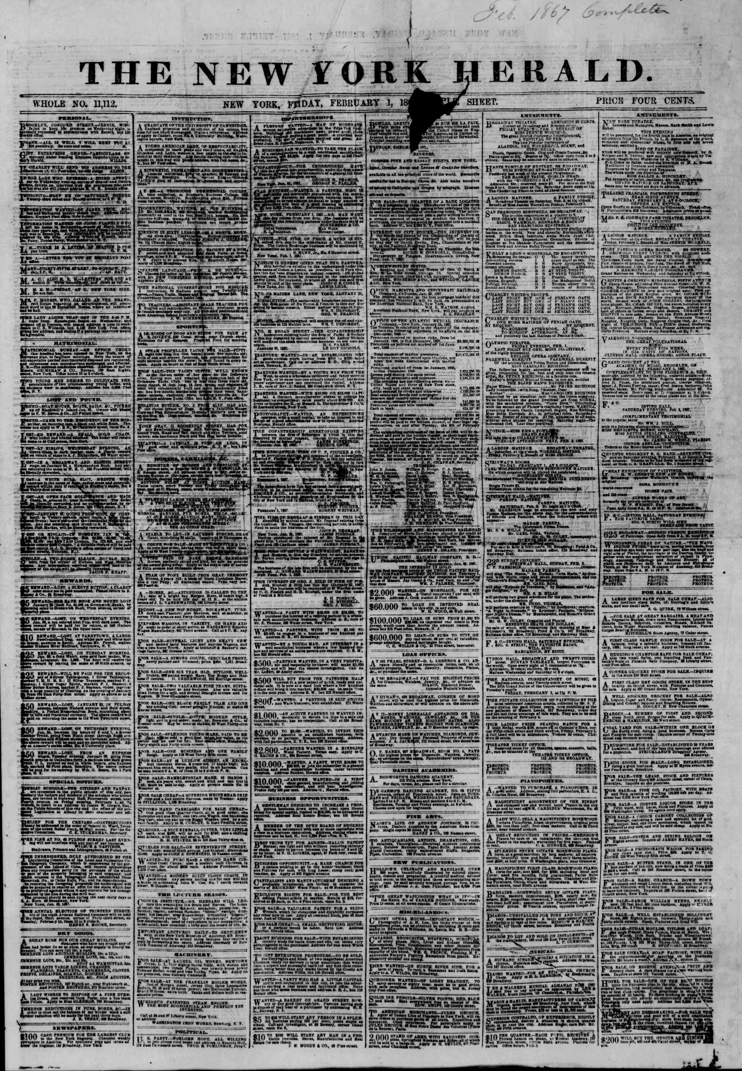 Newspaper of The New York Herald dated February 1, 1867 Page 1