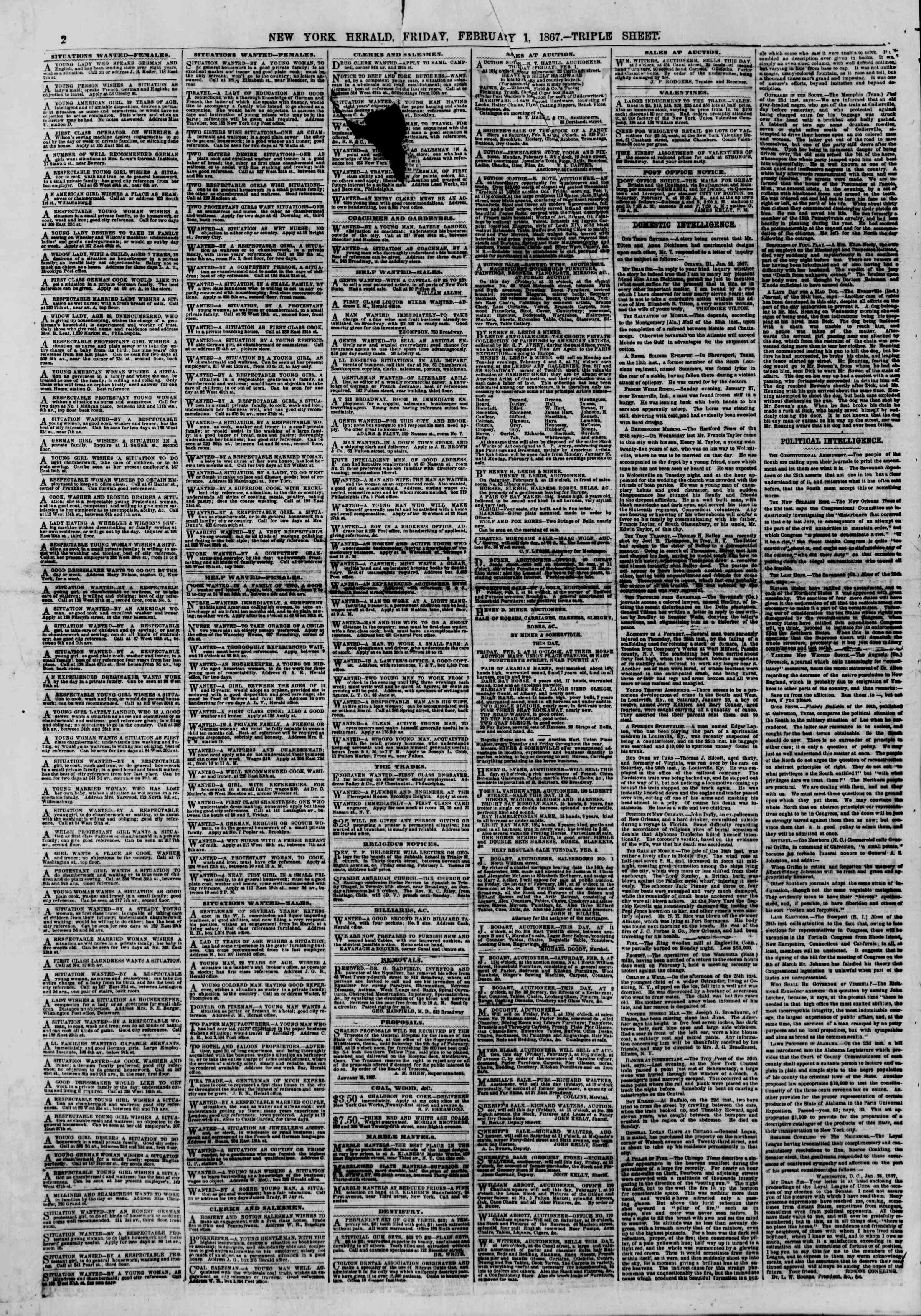 Newspaper of The New York Herald dated February 1, 1867 Page 2