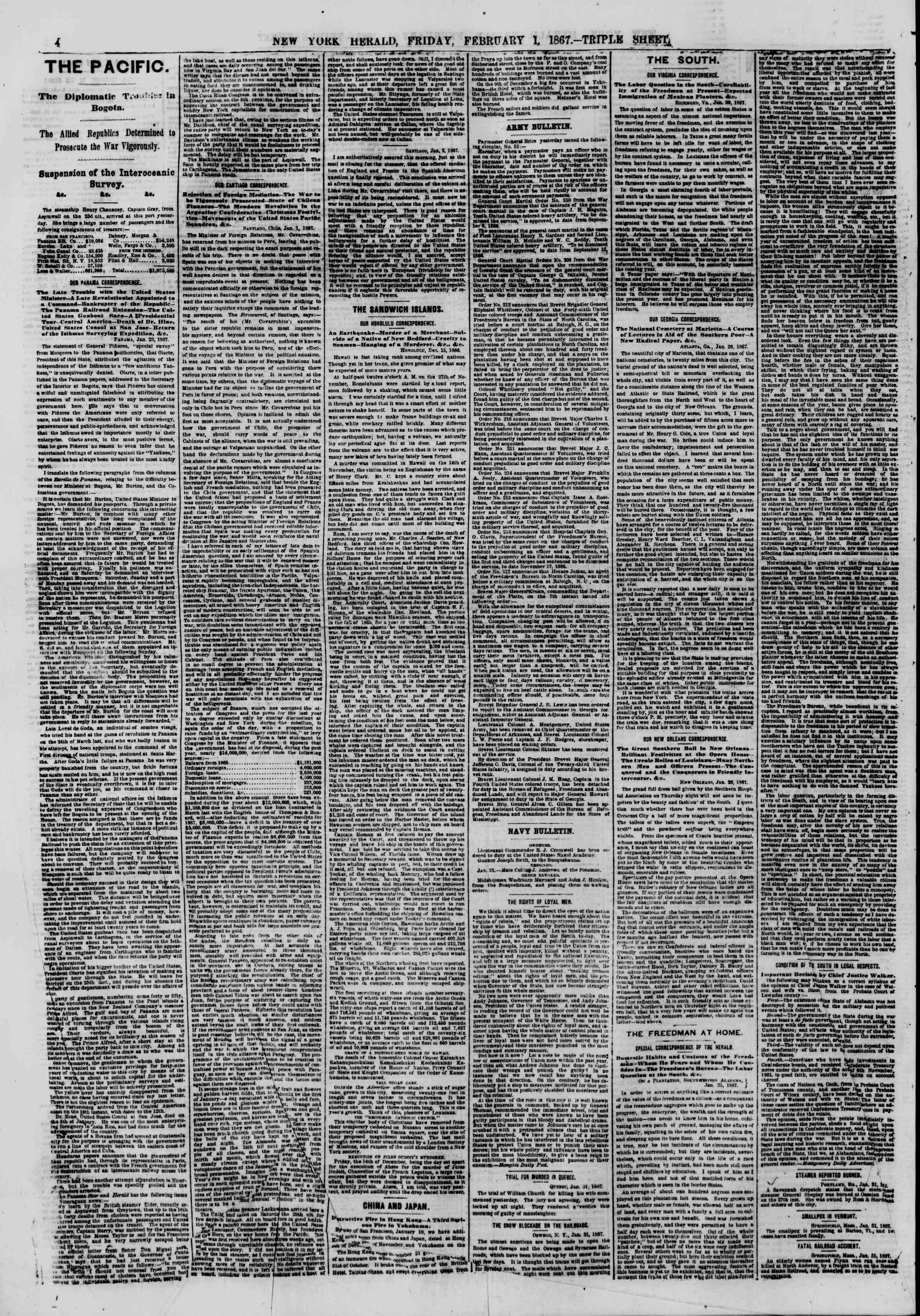 Newspaper of The New York Herald dated February 1, 1867 Page 4
