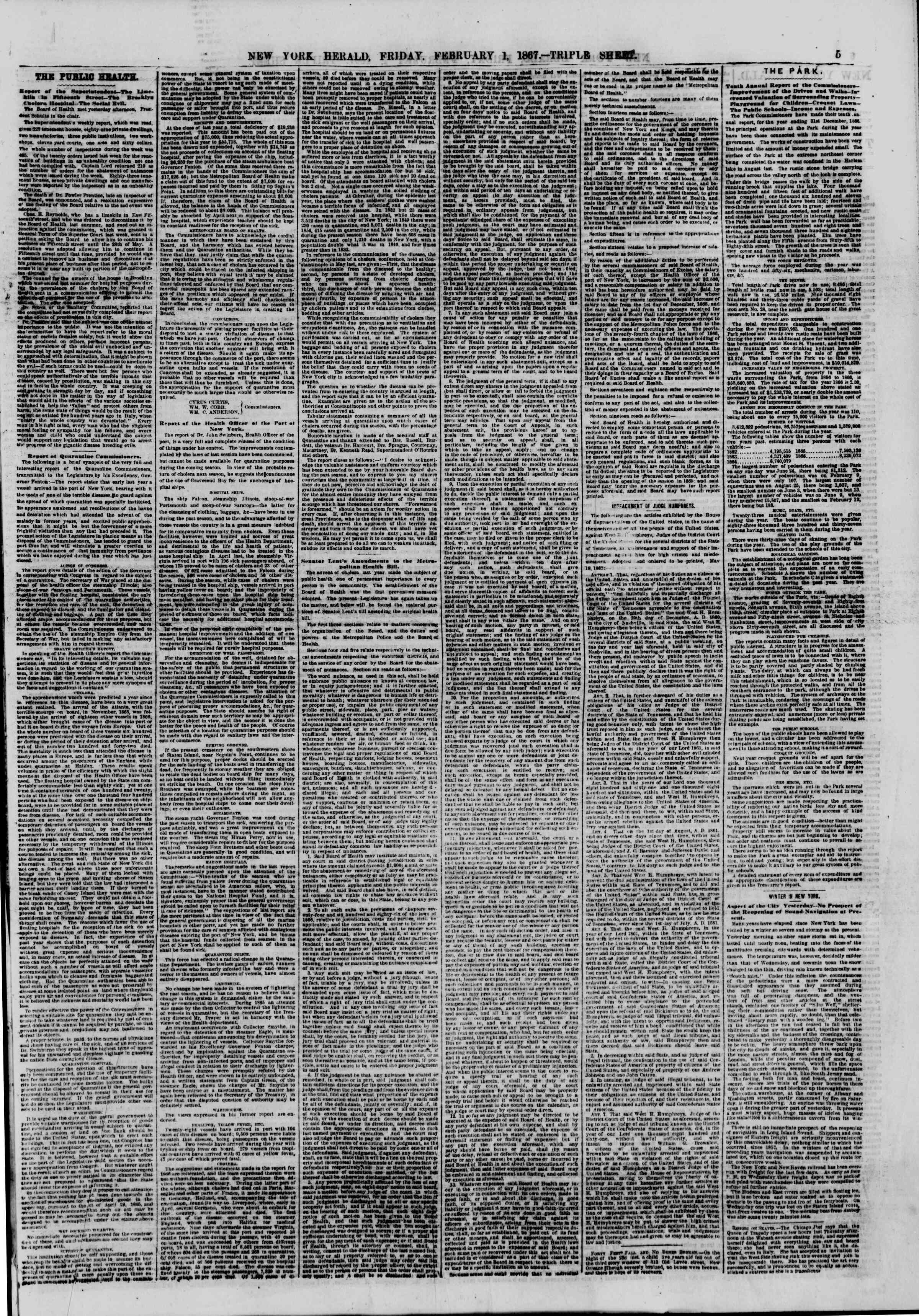 Newspaper of The New York Herald dated February 1, 1867 Page 5