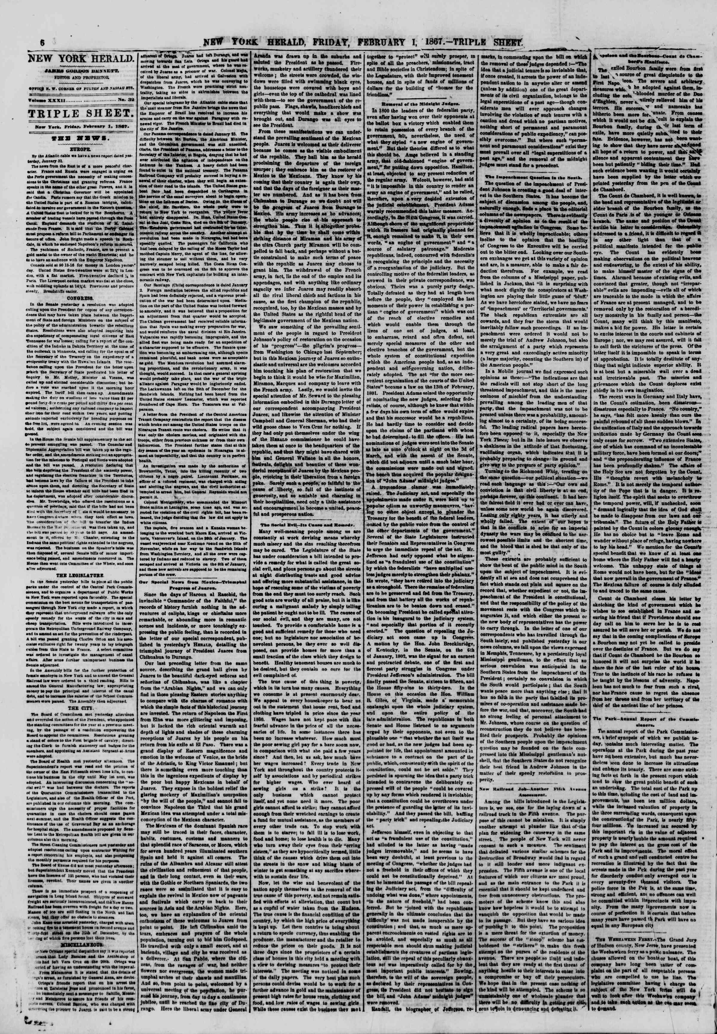 Newspaper of The New York Herald dated February 1, 1867 Page 6
