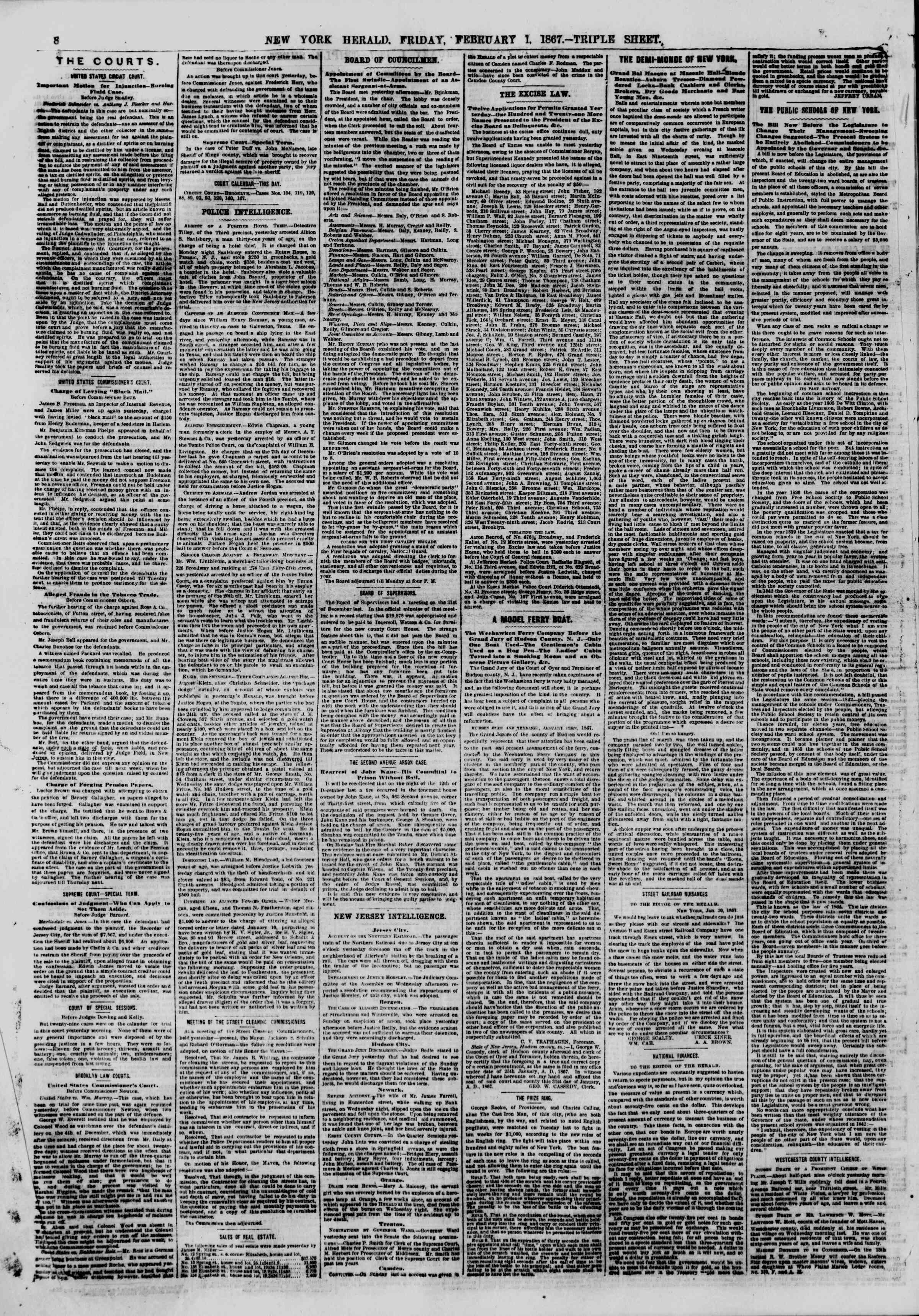 Newspaper of The New York Herald dated February 1, 1867 Page 8