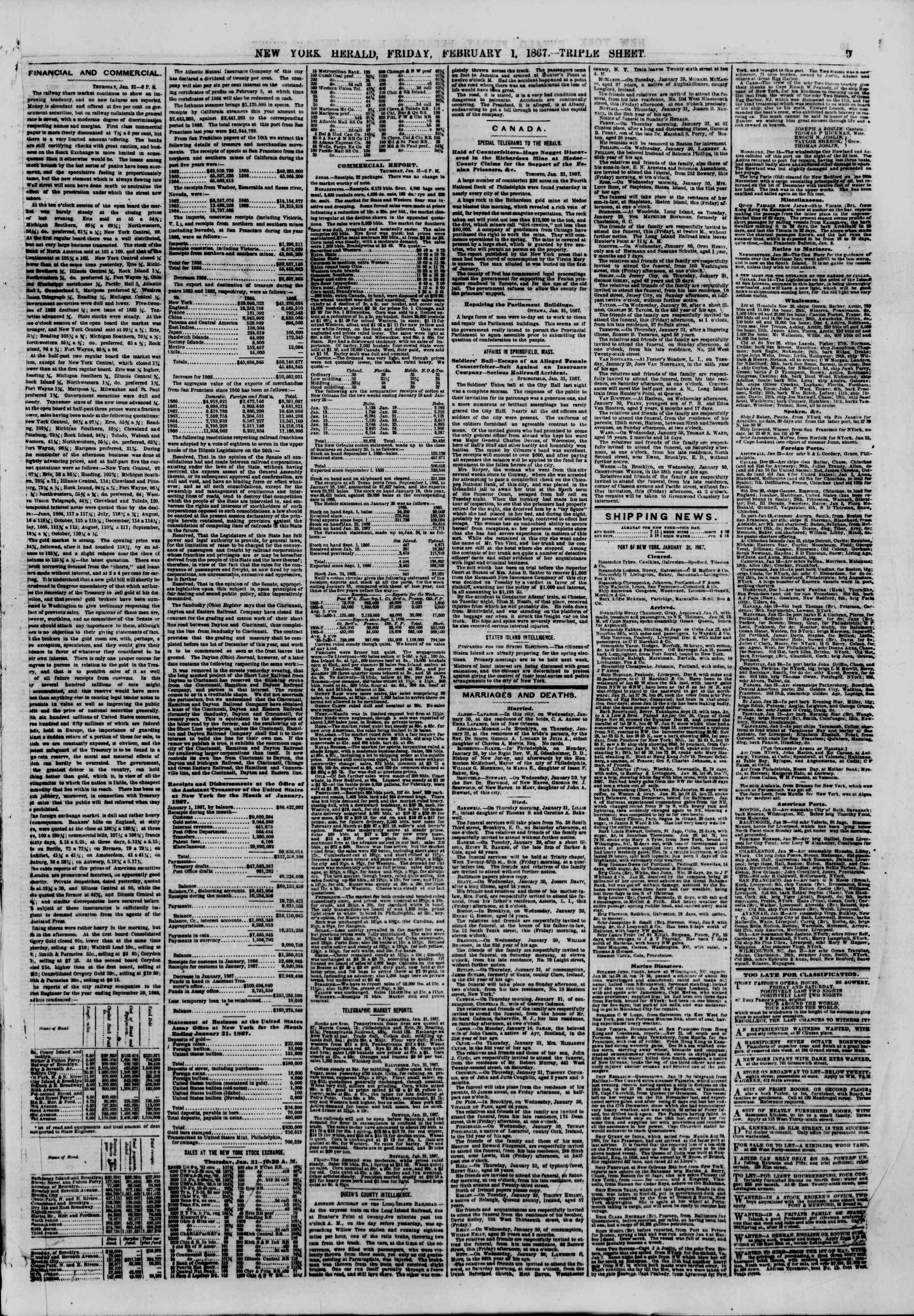 Newspaper of The New York Herald dated February 1, 1867 Page 9