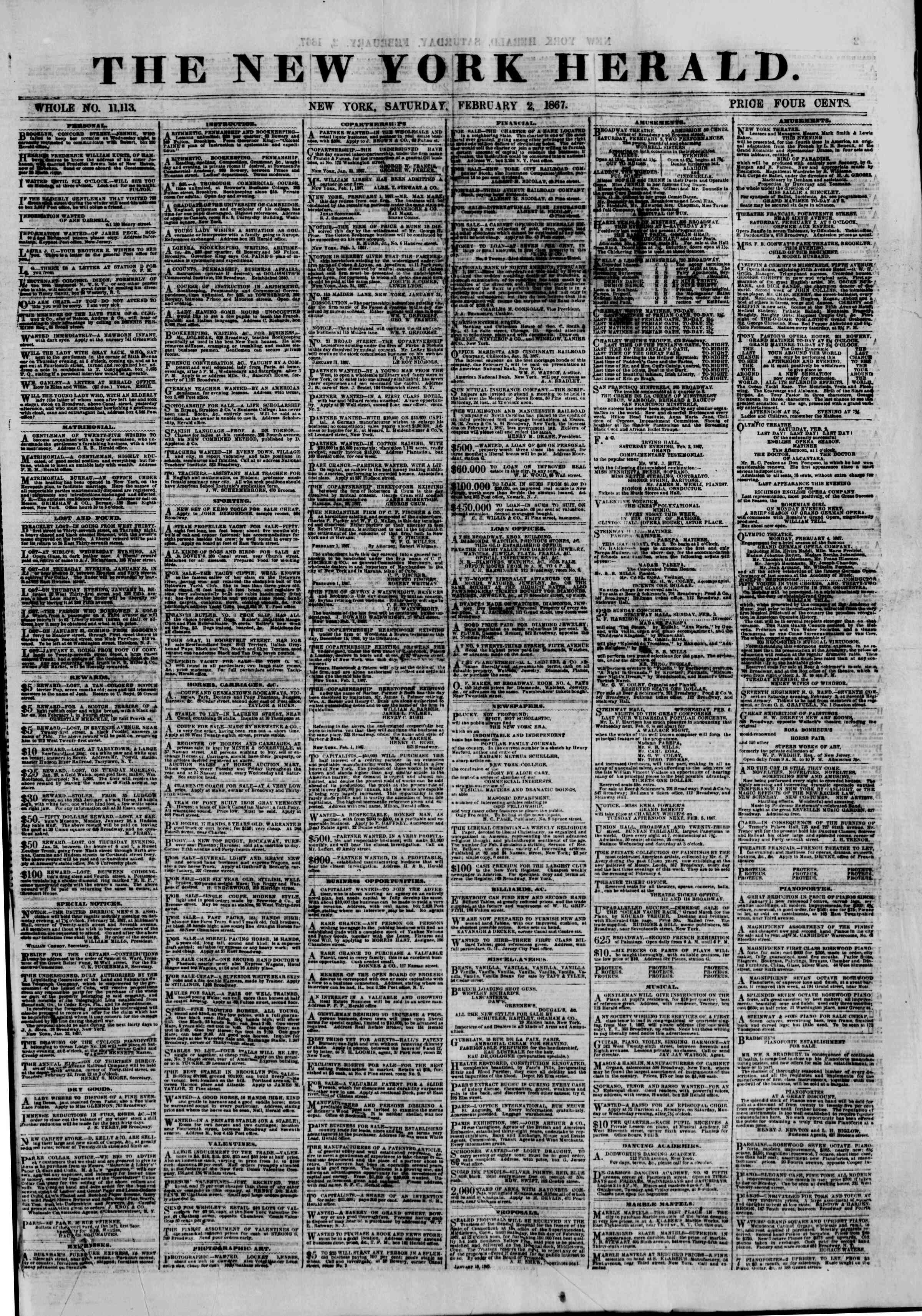 Newspaper of The New York Herald dated February 2, 1867 Page 1