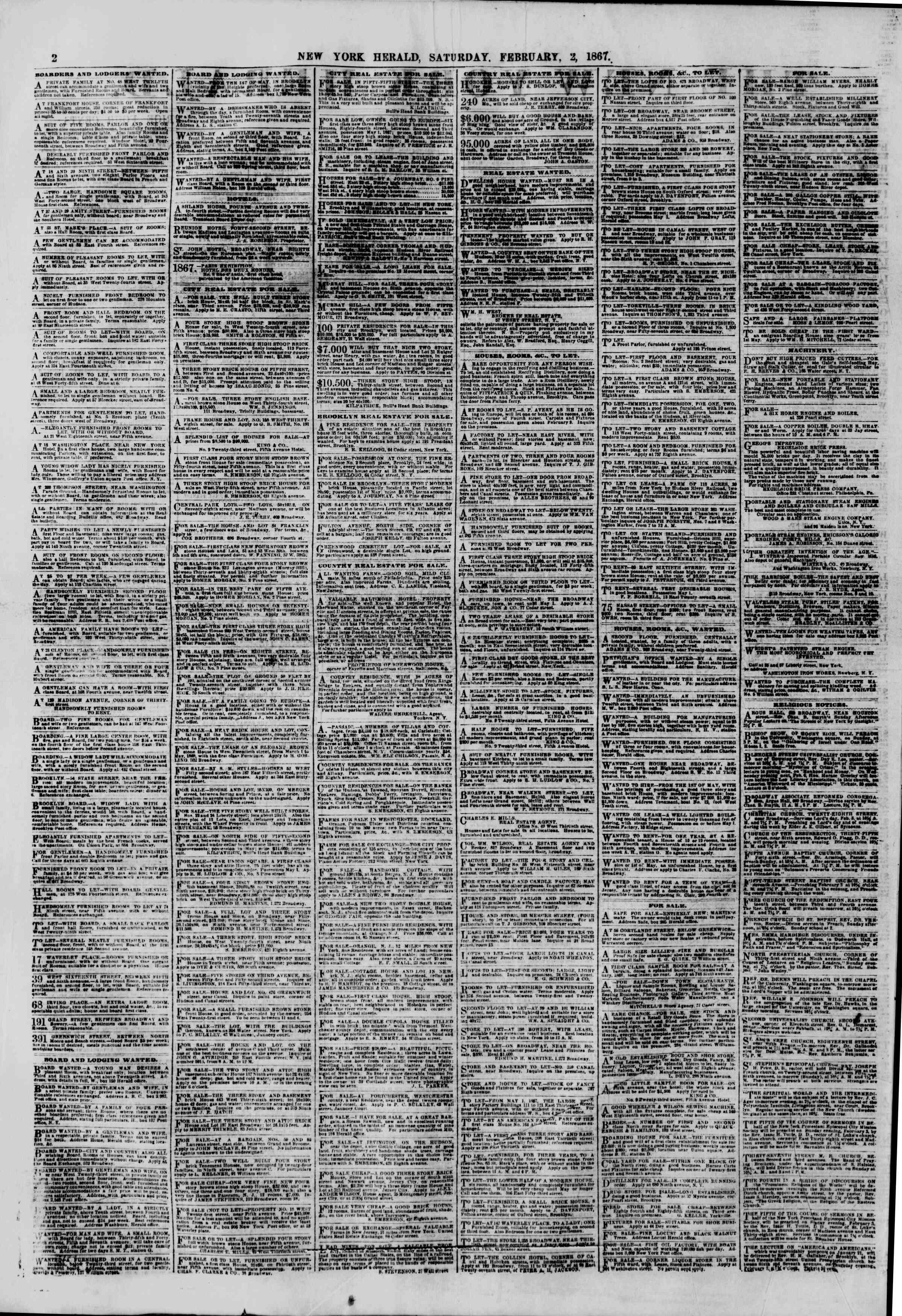 Newspaper of The New York Herald dated February 2, 1867 Page 2