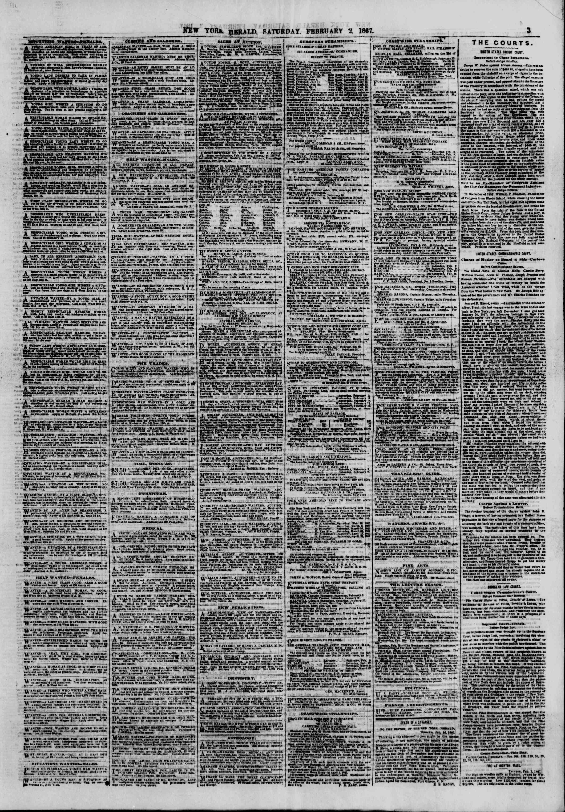 Newspaper of The New York Herald dated February 2, 1867 Page 3