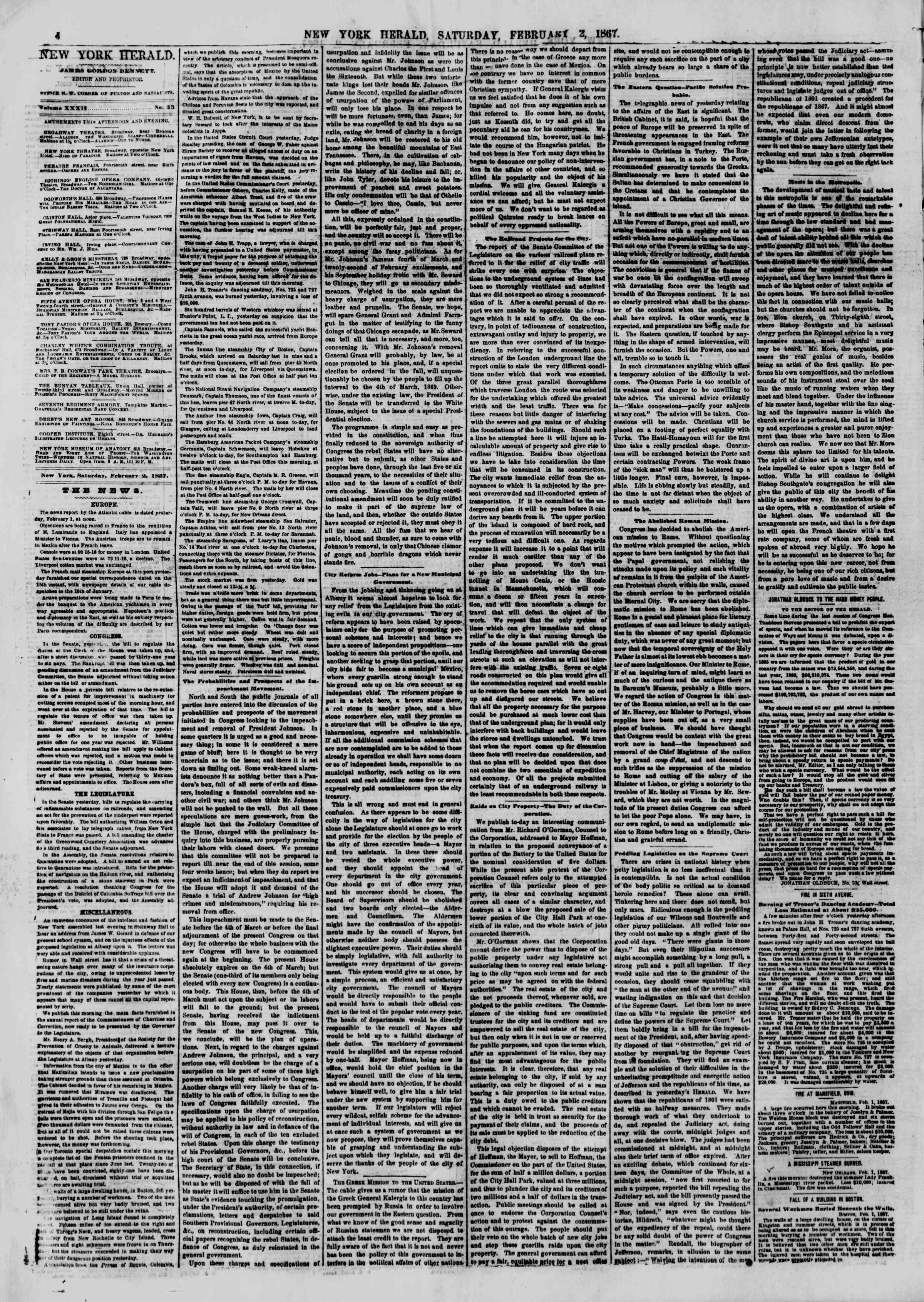 Newspaper of The New York Herald dated 2 Şubat 1867 Page 4